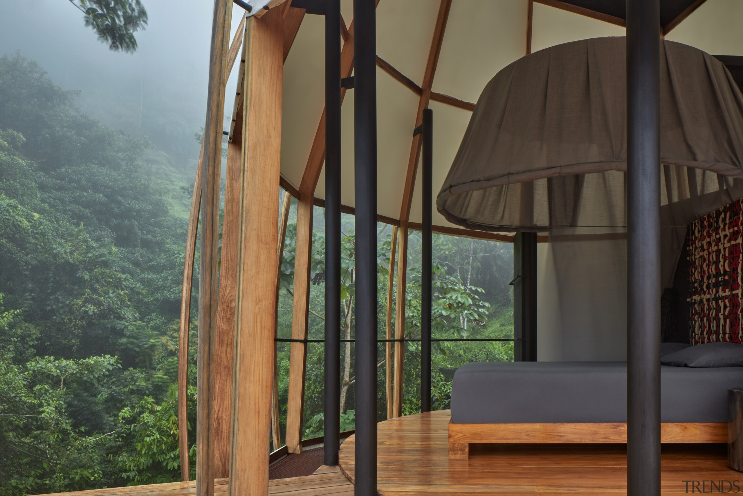 The mosquito net is the dominant element of