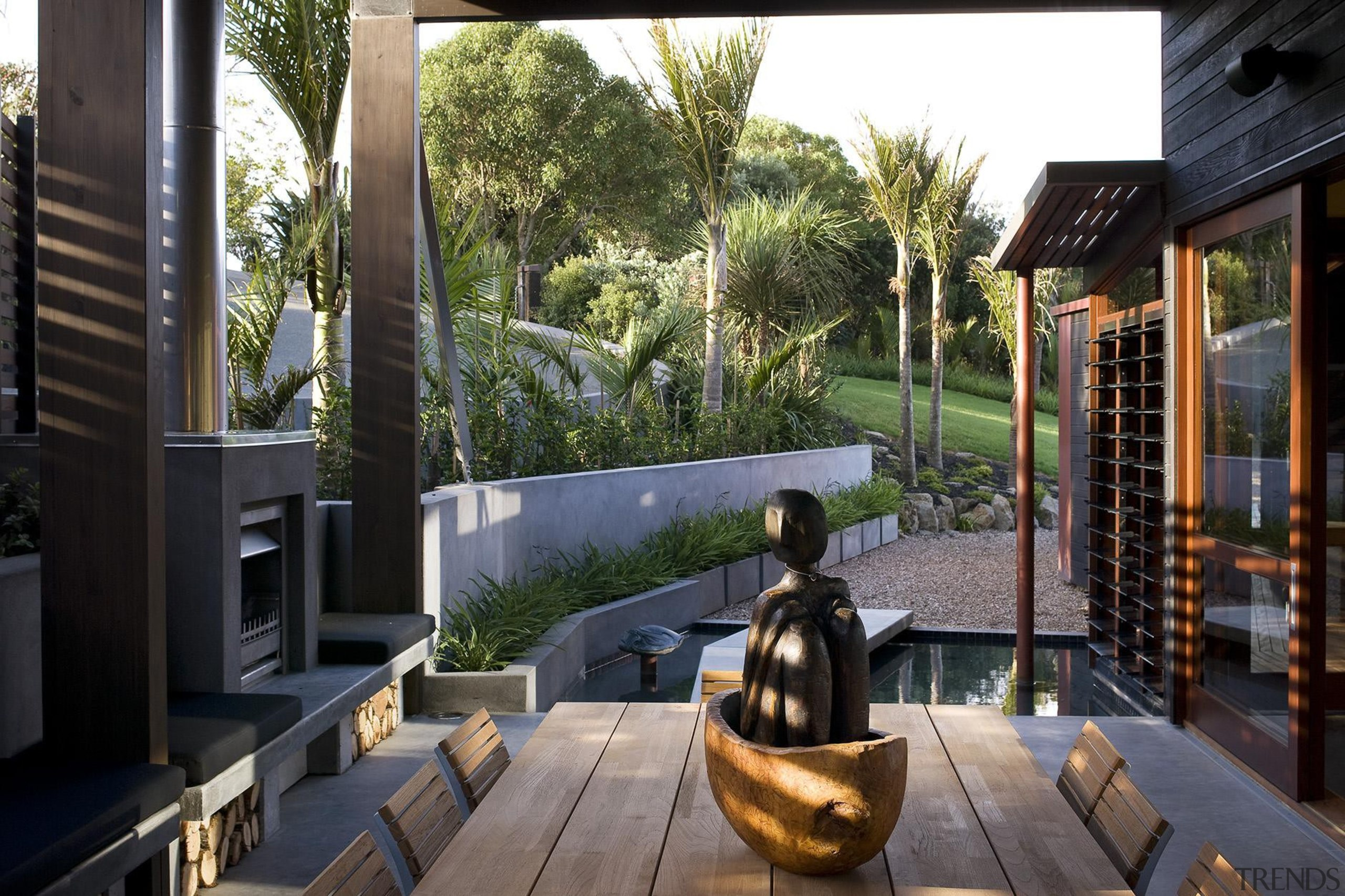 Waiheke Island, Auckland - Owhanake Bay - architecture architecture, backyard, home, house, outdoor structure, plant, property, real estate, tree, window, black