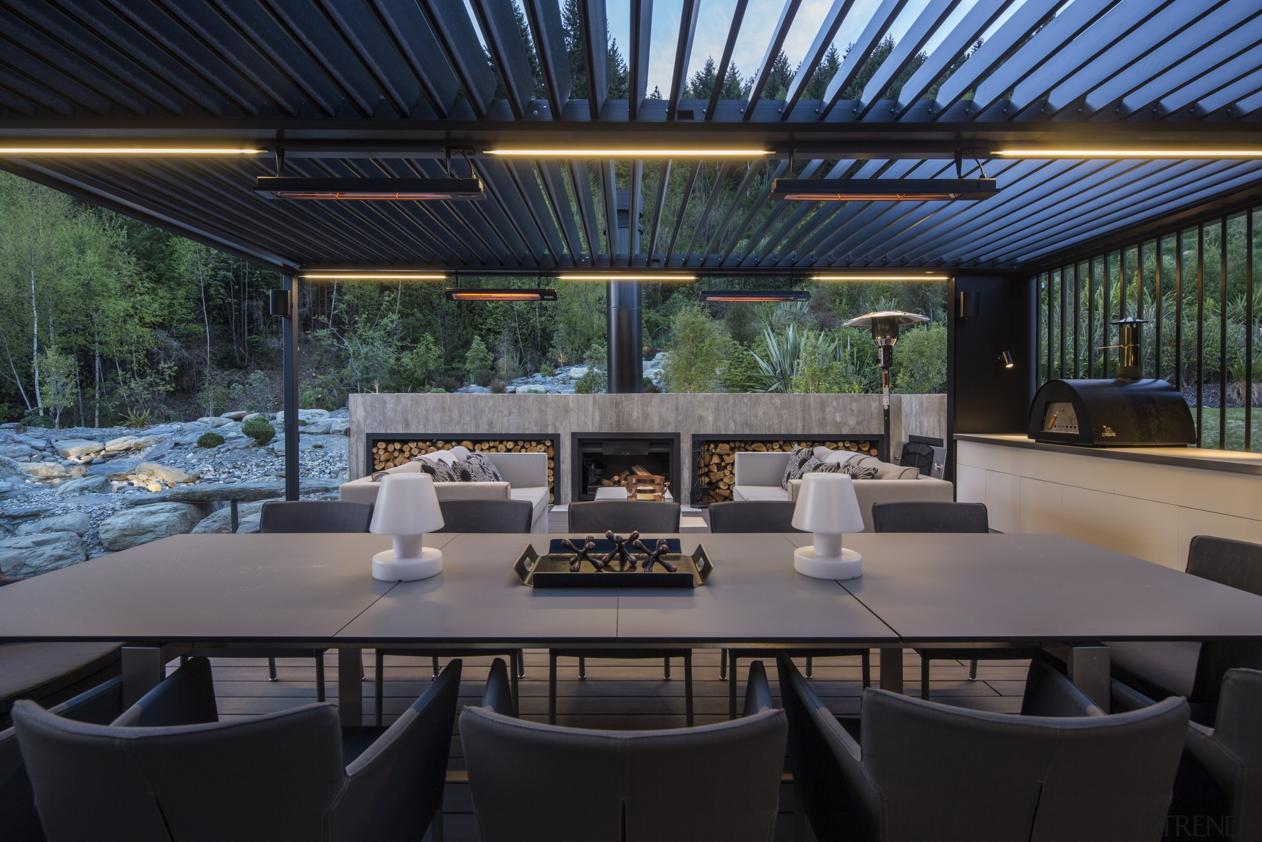 For this mountain home, timber decking in the black