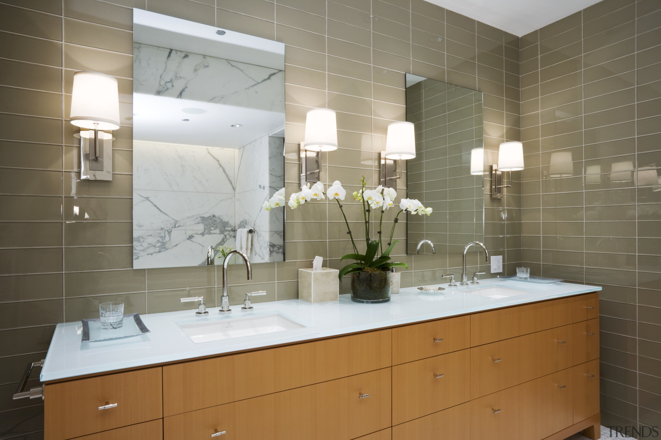 View of bathroom featuring vanity, basin, tapware, mirror, bathroom, countertop, home, interior design, kitchen, room, sink, tile, brown, gray