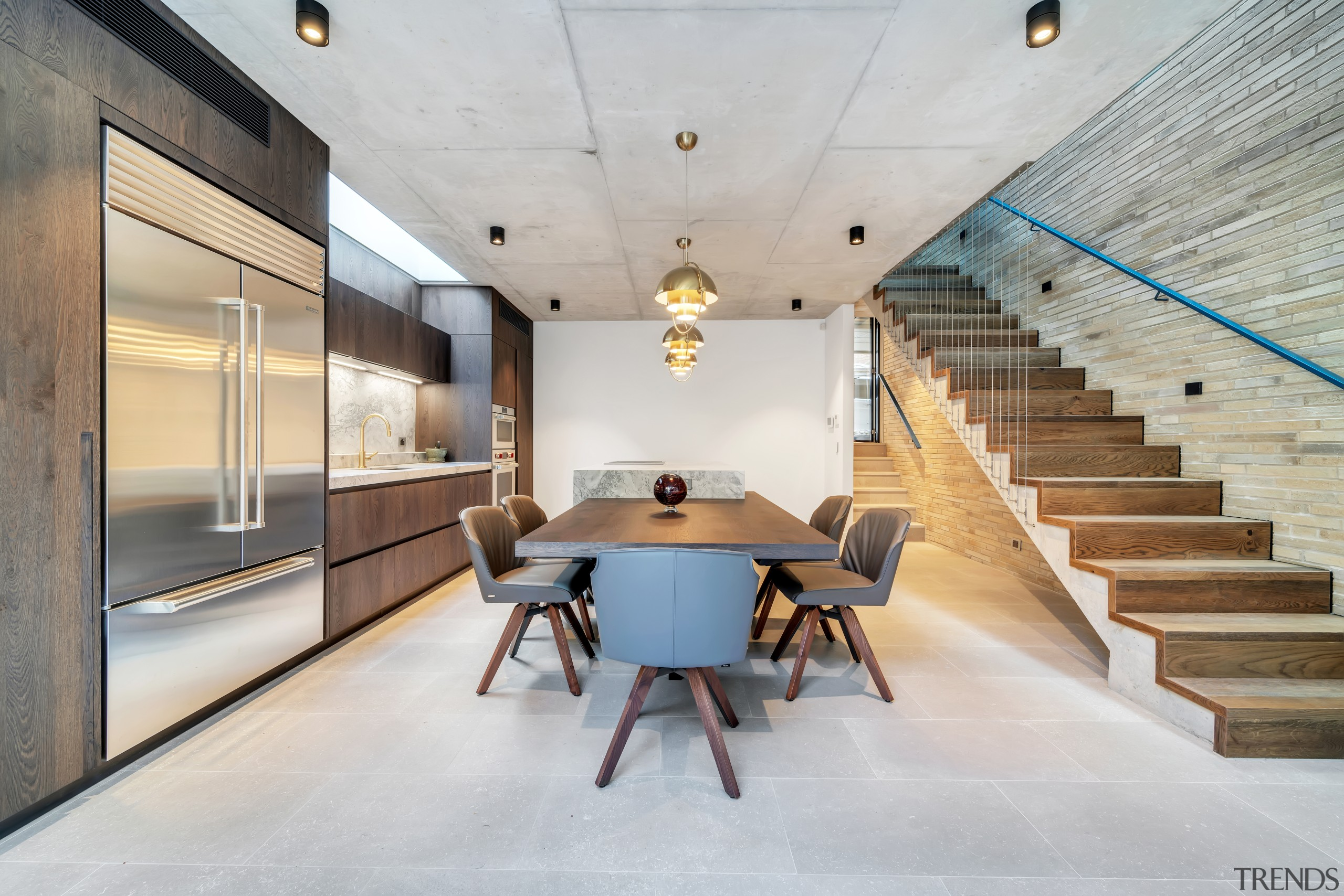 From this angle, this kitchen's cantilevered island with