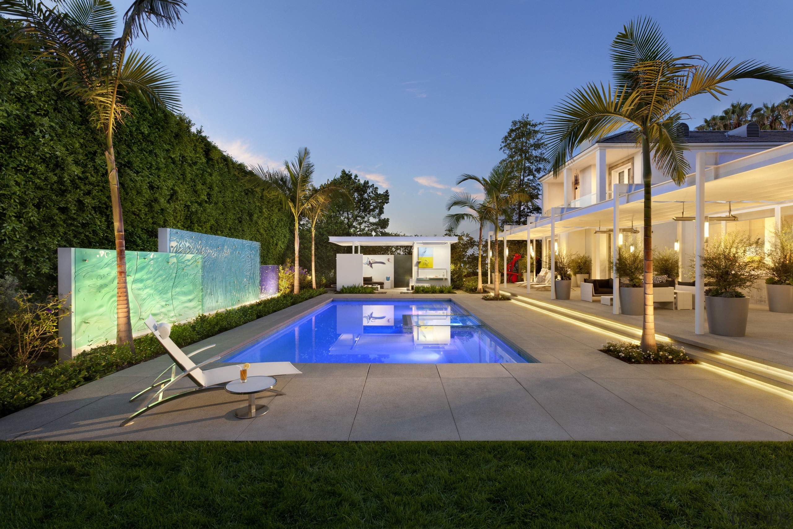 View of the pool which was built by arecales, estate, hacienda, home, house, leisure, mansion, palm tree, property, real estate, residential area, resort, swimming pool, villa, brown