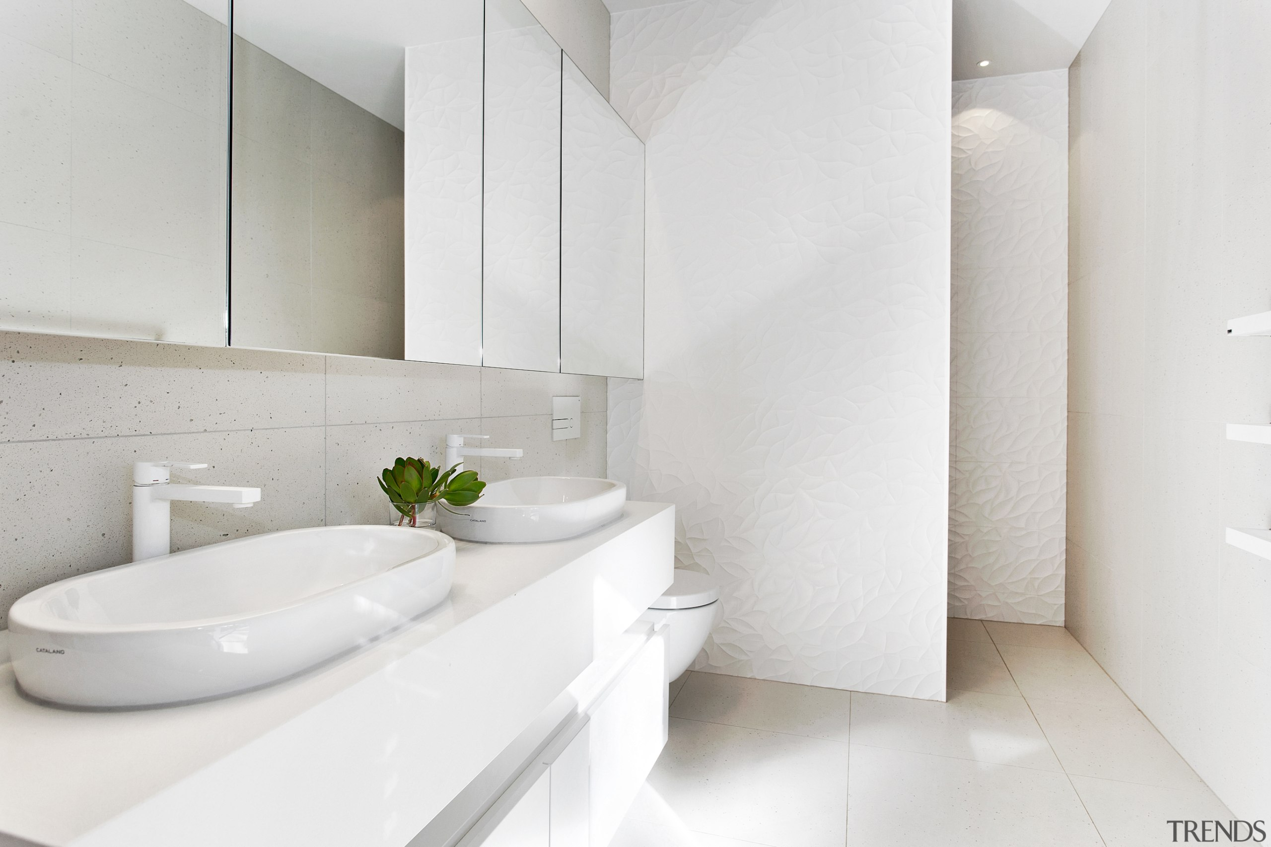 A green leaf in a white space – architecture, bathroom, ensuite, bathtub, ceramic, floor, flooring, house, interior design, plumbing fixture, tap, tile, wall, white, O'Neil Architecture