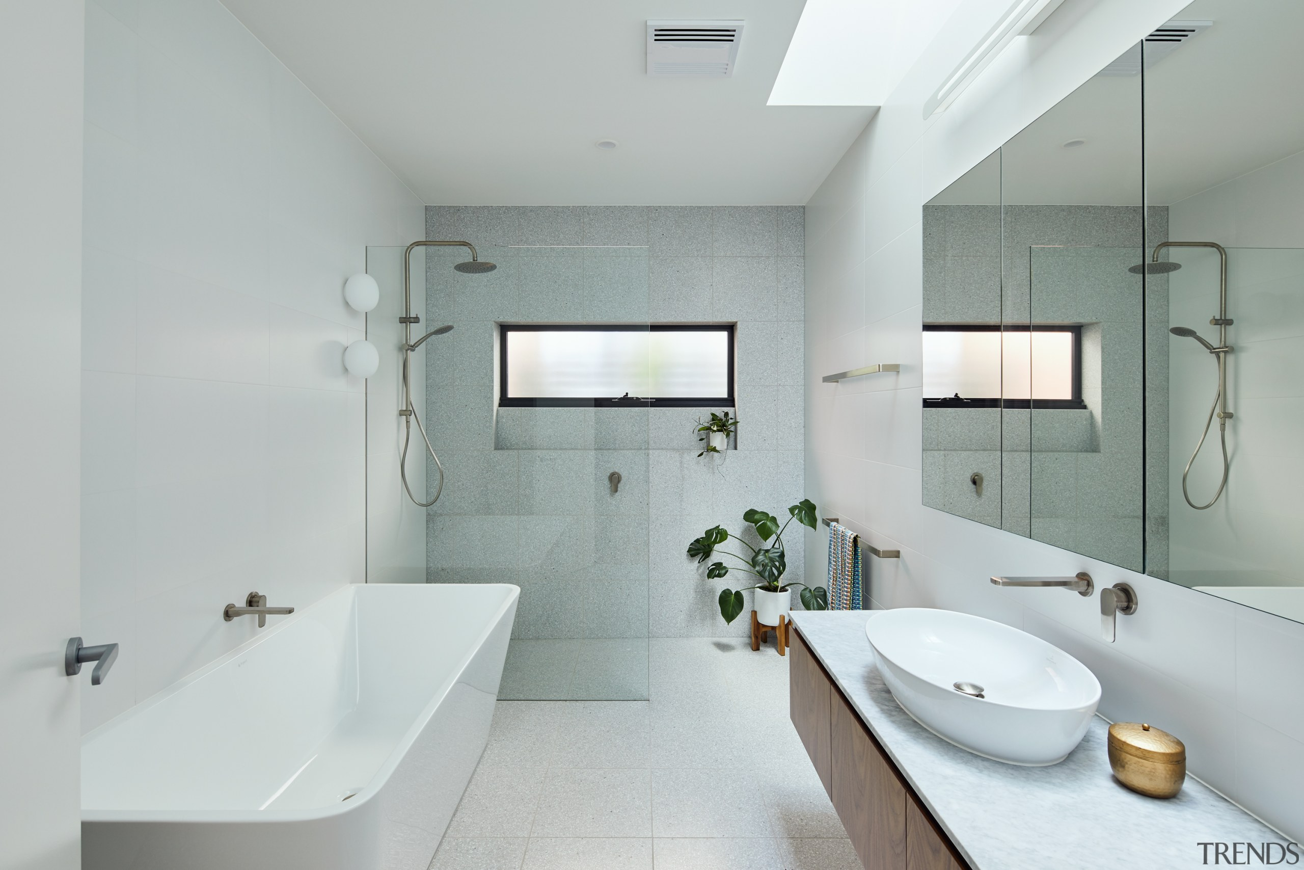A skylight brings natural light into the main