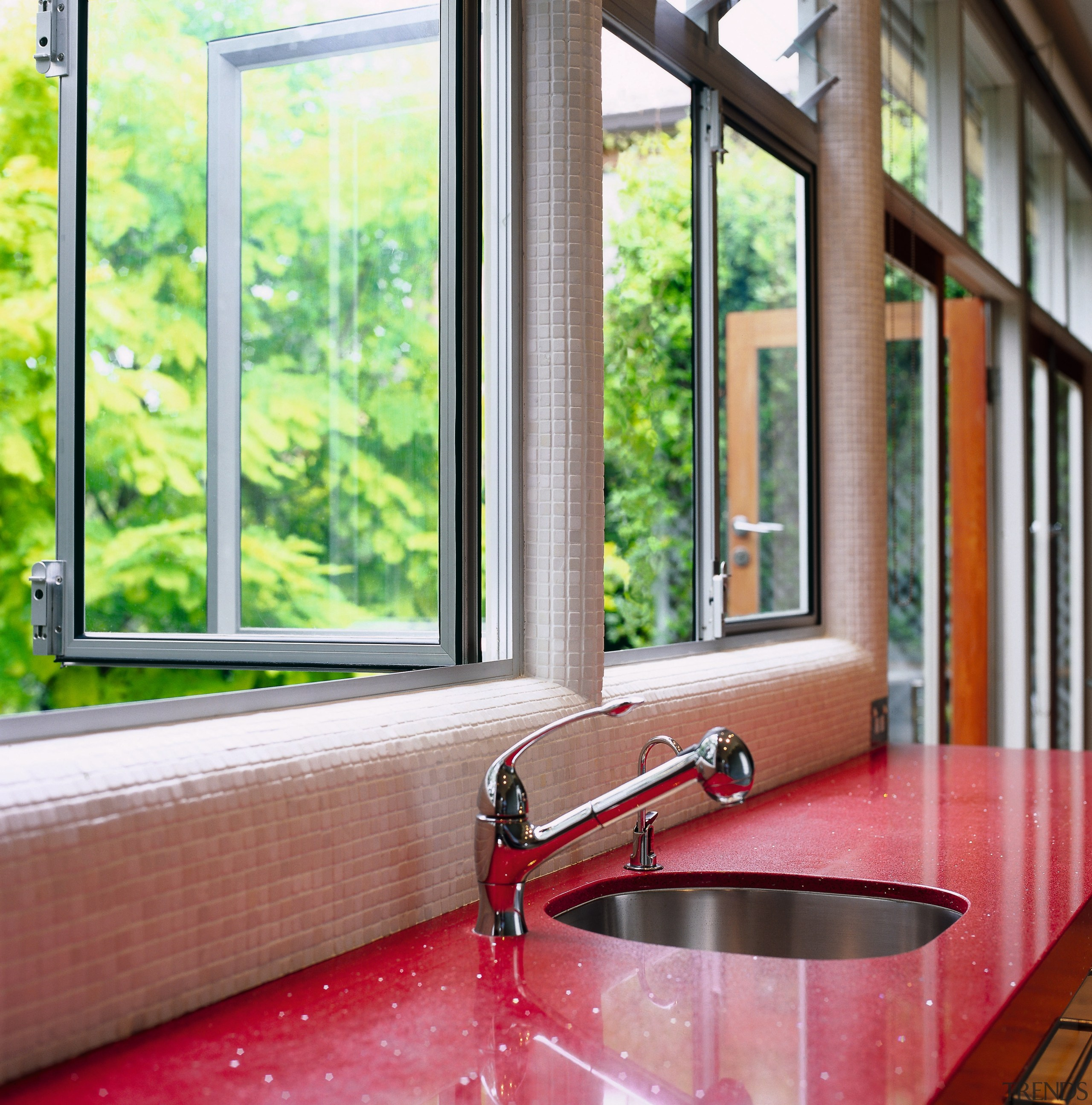 view of the kitchen benchtop looking into the daylighting, door, estate, home, house, interior design, real estate, window, wood, red