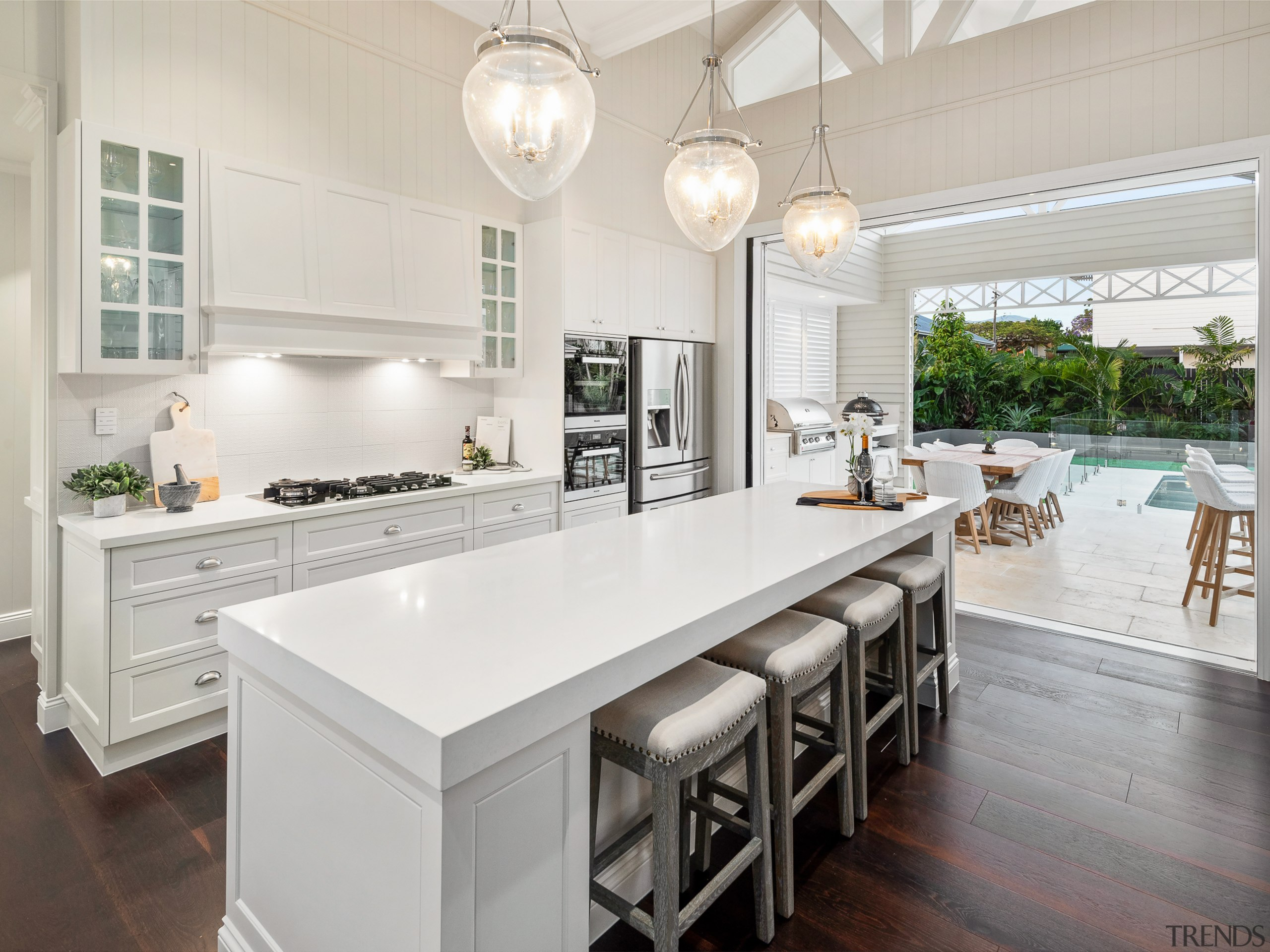 ​​​​​​​Fresh connections – this new kitchen by architects architecture, cabinetry, countertop, benchtop, Ceasarstone, timber floor, hardwood, interior design, kitchen, lighting, white, wood flooring, Baahouse & Baastudio Architecture