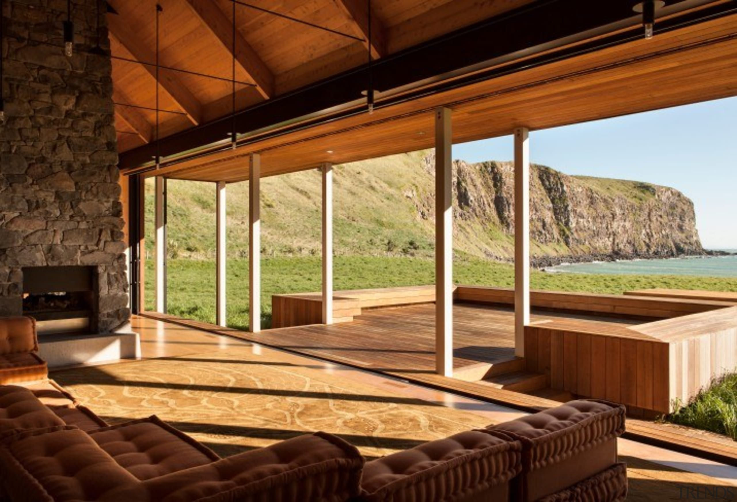 Annandale Banks Peninsula, New Zealand - architecture | architecture, building, ceiling, deck, floor, furniture, hardwood, home, house, interior design, log cabin, porch, property, real estate, roof, room, shade, wood, wood stain, brown