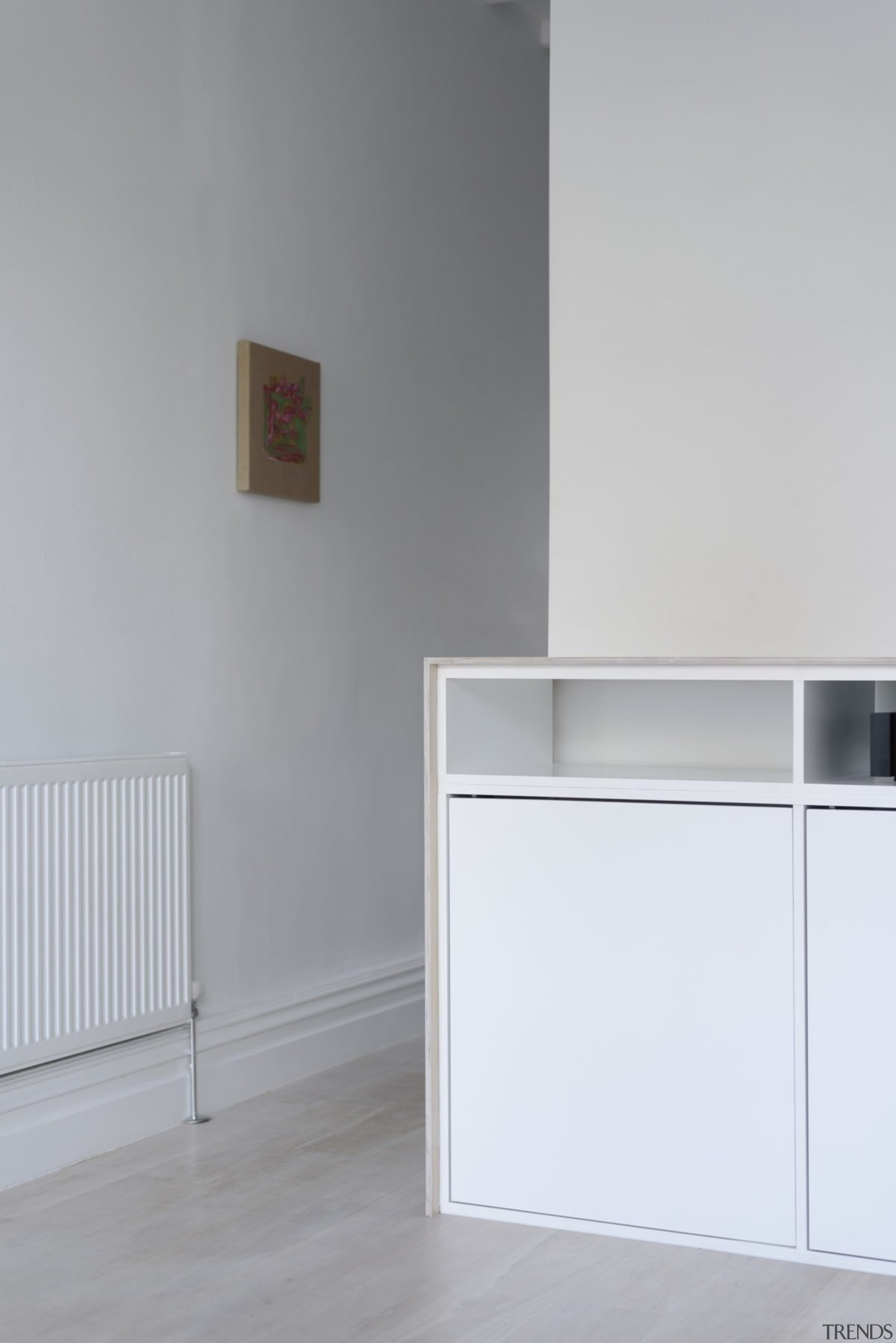A view of the wall heater - A chest of drawers, floor, furniture, product, product design, sideboard, wall, gray