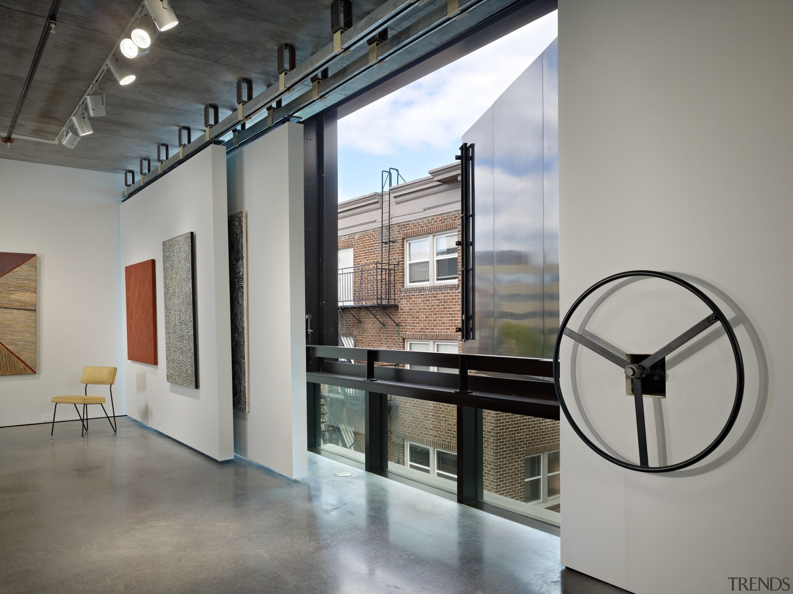 Interior with white walls and art. - Interior glass, interior design, gray