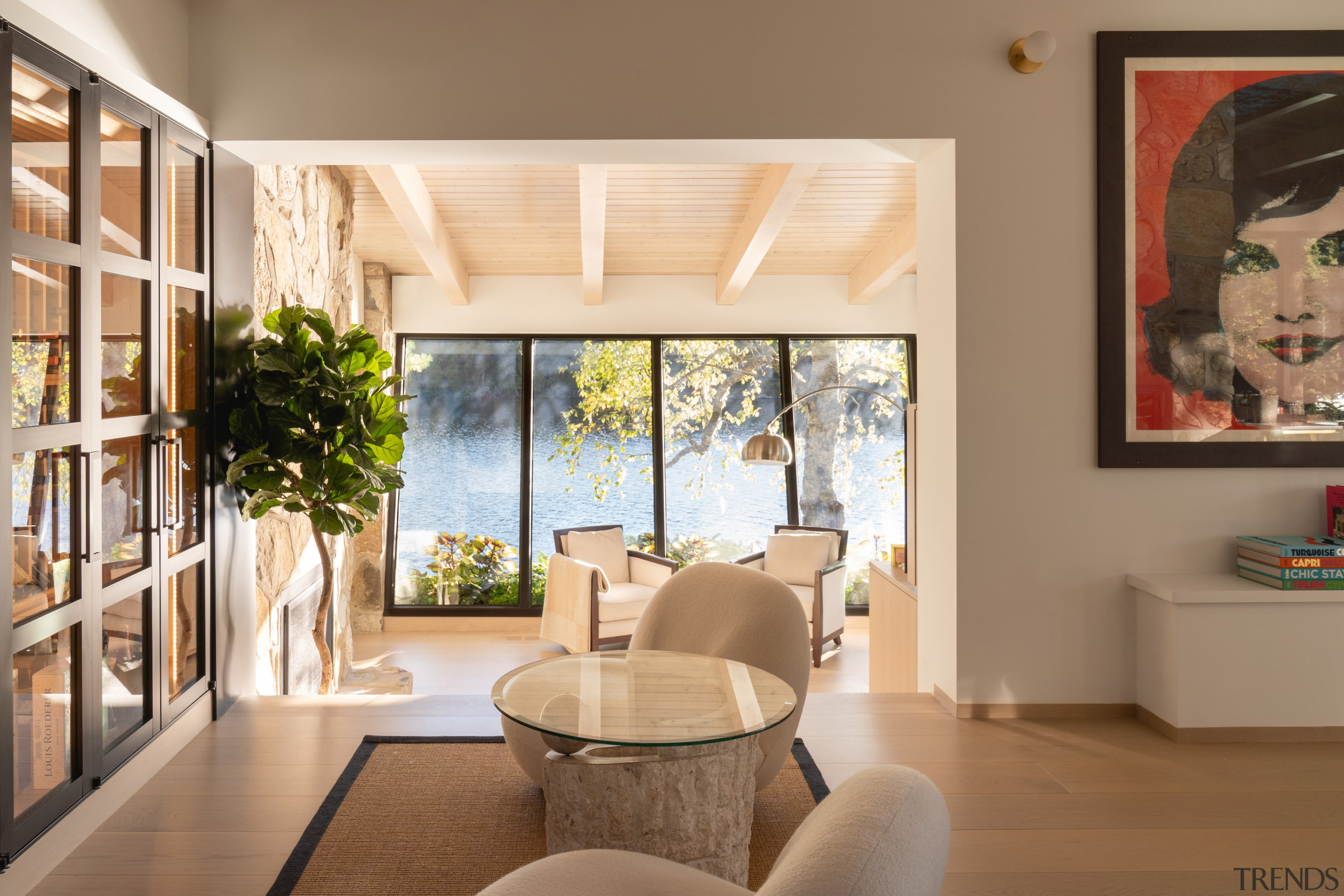 Given the open-plan layout, the pristine lake is