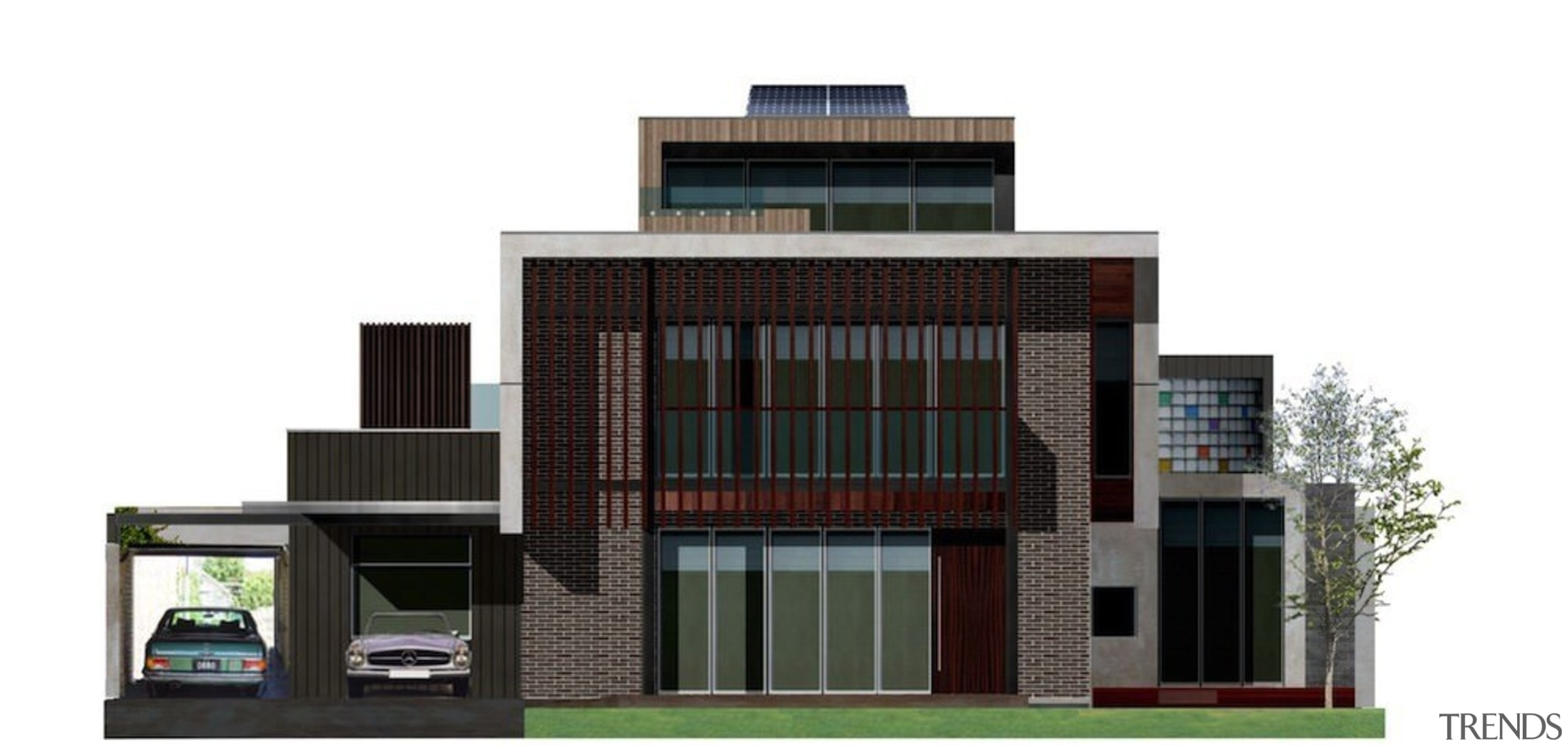 A render of the home - A render architecture, building, commercial building, condominium, elevation, facade, home, house, mixed use, property, real estate, residential area, white, black