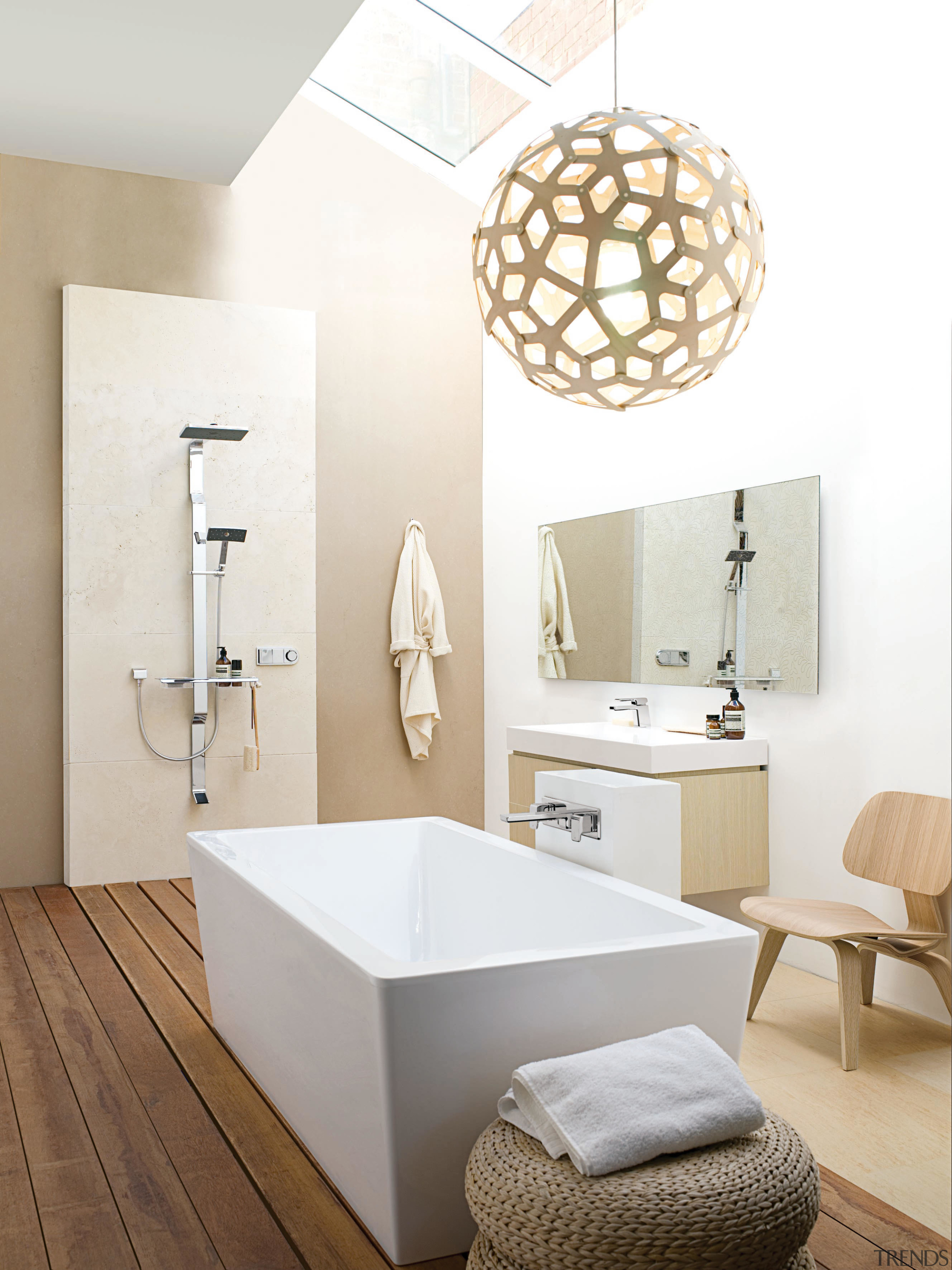 This predominently white contemporary, Scandinavian-style bathroom features timber bathroom, bathroom sink, ceramic, floor, interior design, plumbing fixture, product design, room, sink, tap, white