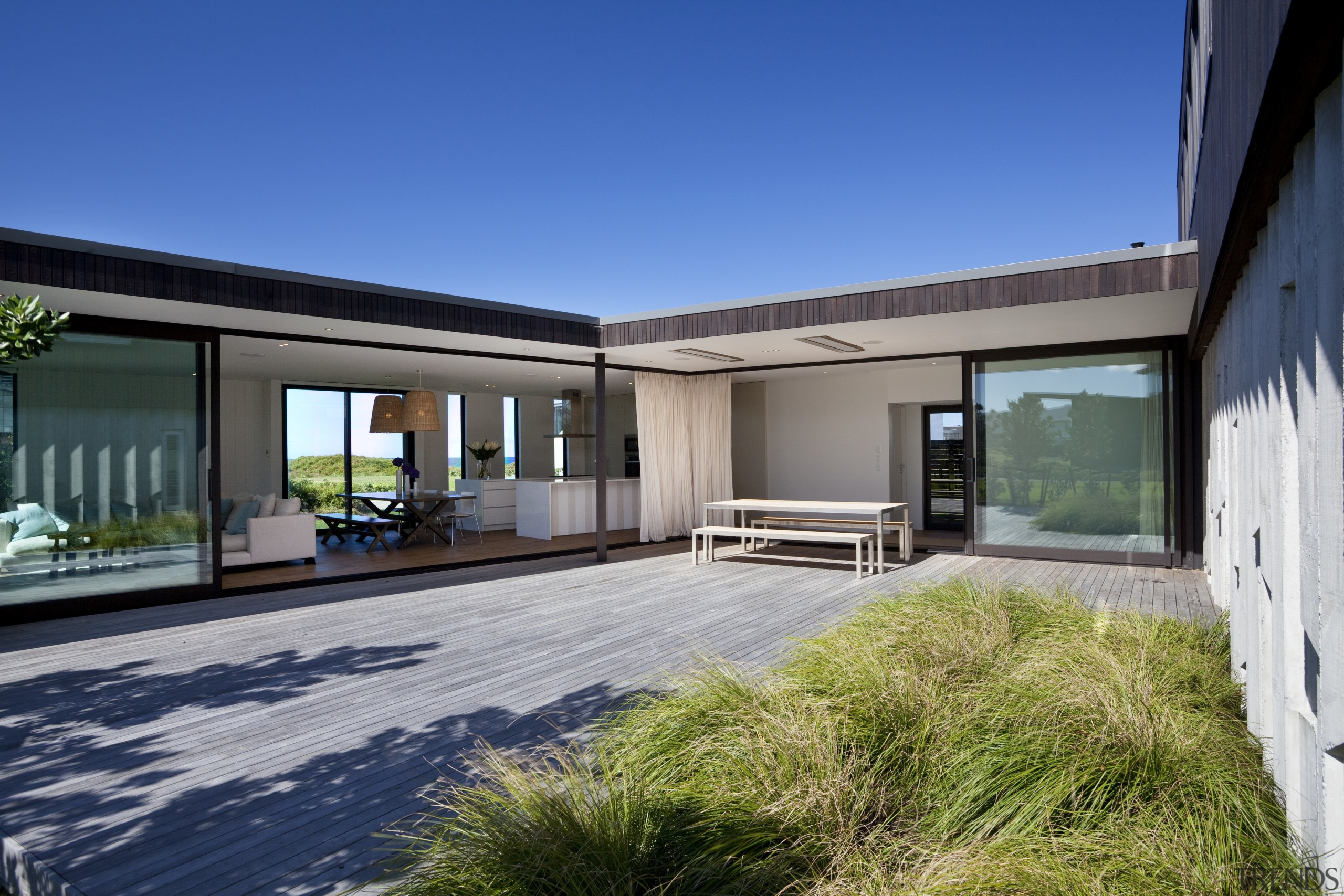 Ponting Fitzgerald-designed beach house - Ponting Fitzgerald-designed beach architecture, estate, facade, home, house, property, real estate, window, gray, blue
