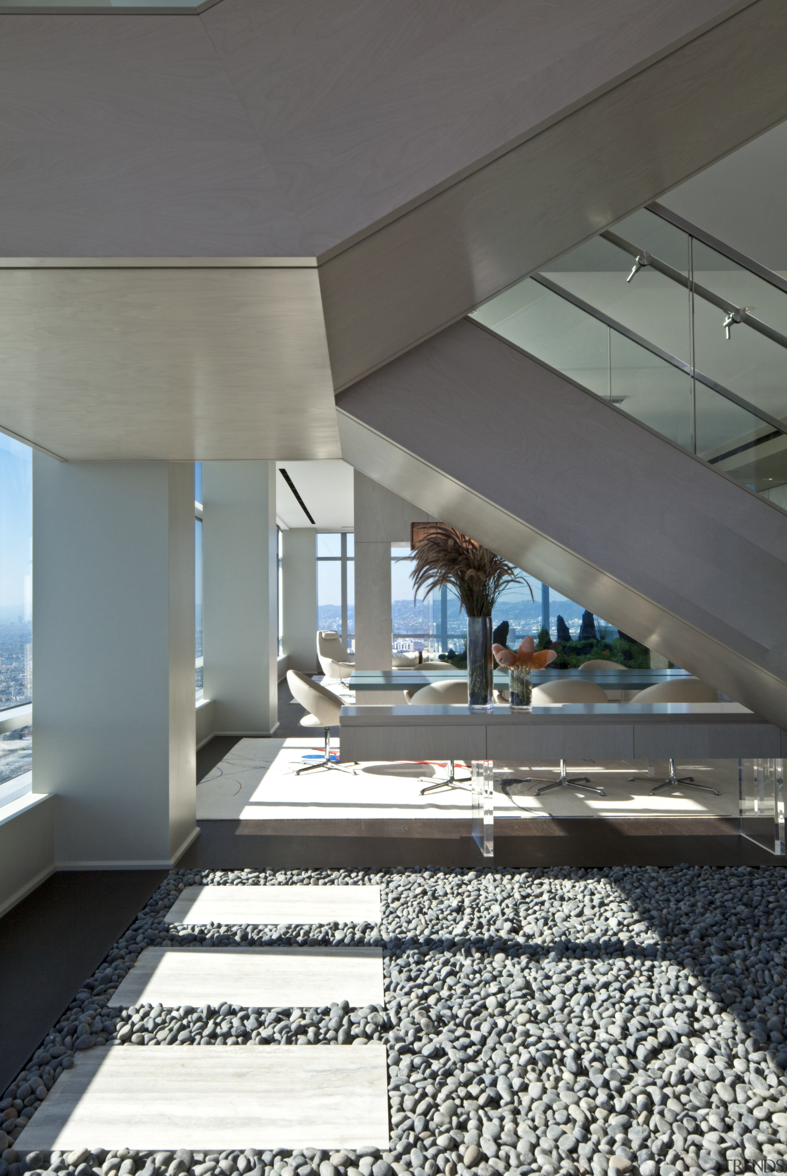 Stepping stones on a river rock floor add architecture, ceiling, condominium, daylighting, floor, house, interior design, structure, gray