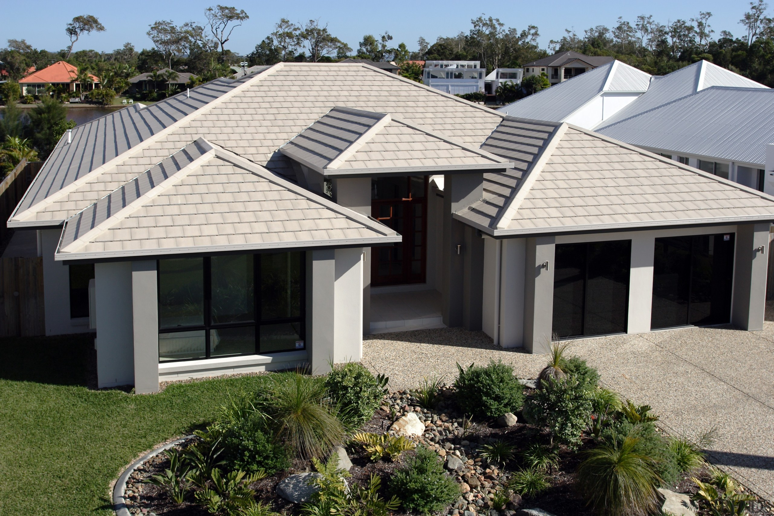 Monier Concrete Tiles - Horizon - Monier Concrete cottage, elevation, estate, facade, home, house, outdoor structure, property, real estate, roof, siding, window, black