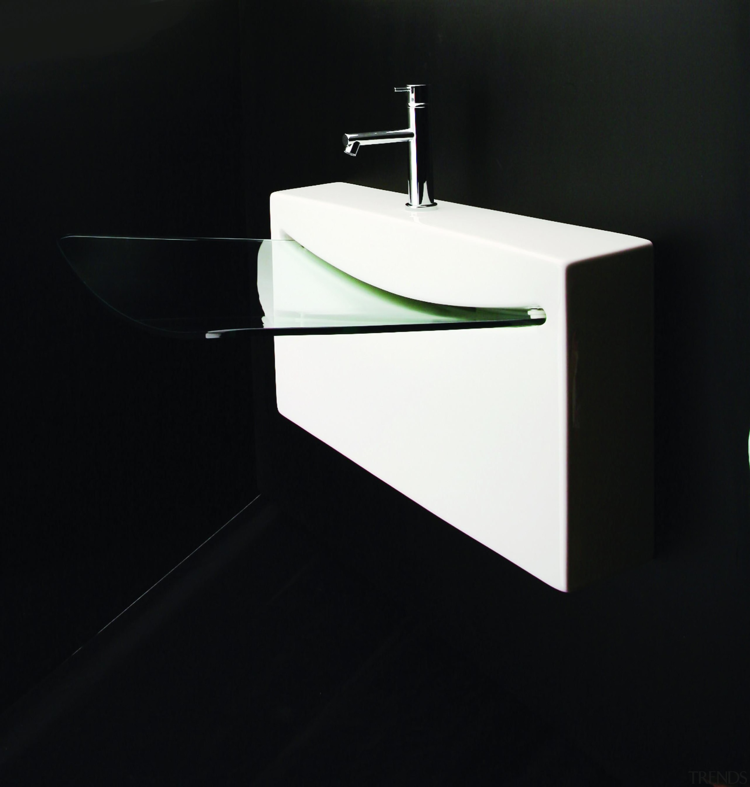 Wall-mount porcelain lavatory with one faucet hole, no angle, bathroom accessory, bathroom cabinet, bathroom sink, plumbing fixture, product design, sink, tap, black