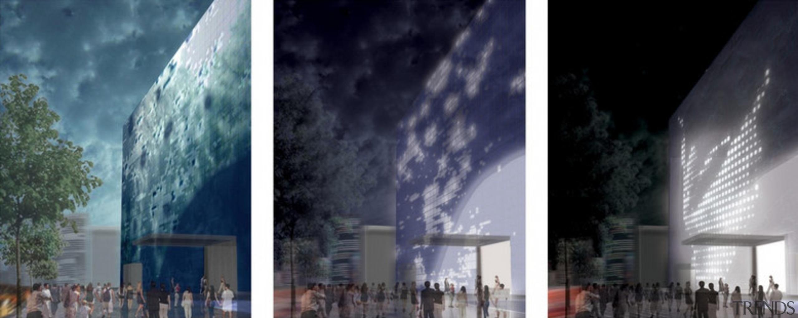 Designed by SGP Architects the GreenPix Zero Energy architecture, building, facade, landmark, metropolis, phenomenon, sky, skyscraper, tourist attraction, gray, black