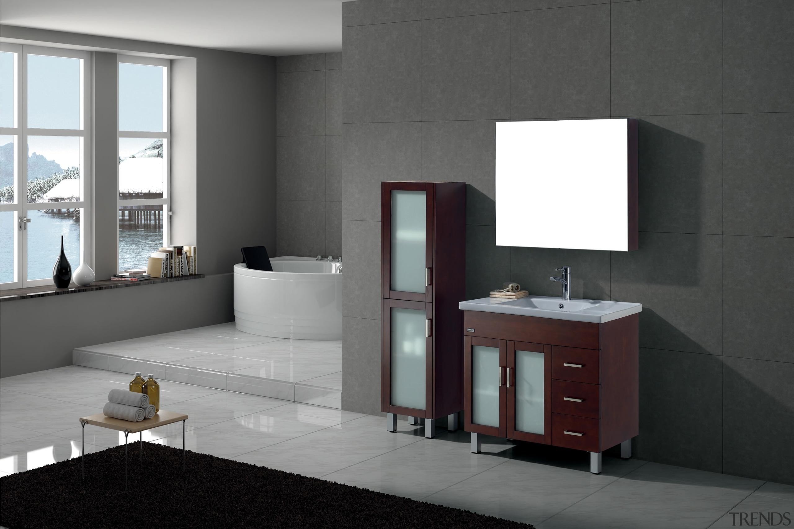 Large bathroom with a round bath tub, grey angle, bathroom, bathroom accessory, bathroom cabinet, floor, furniture, interior design, product design, room, sink, black, gray