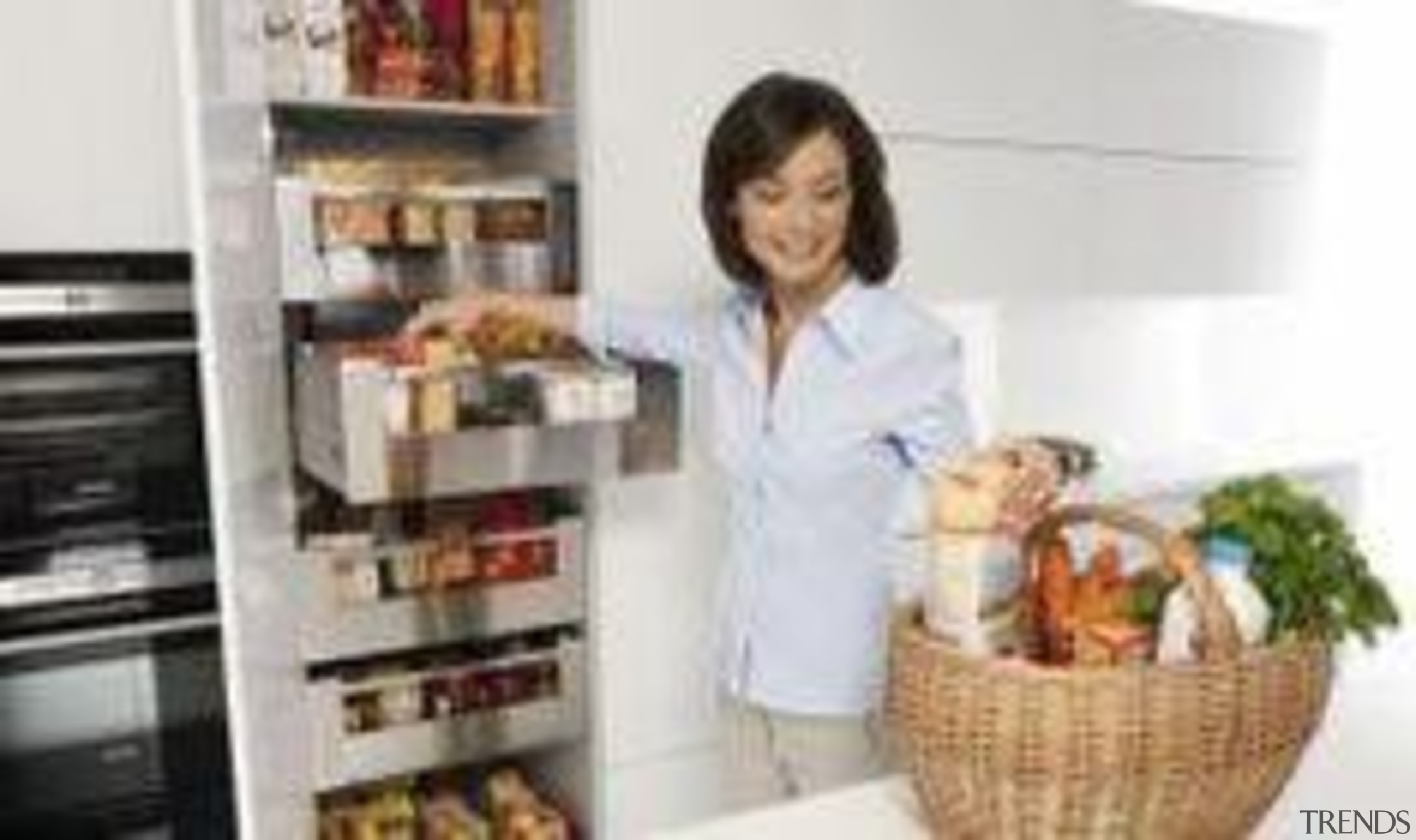 Keep all your goodies organised with the Space furniture, kitchen, kitchen appliance, product, refrigerator, shelving, white