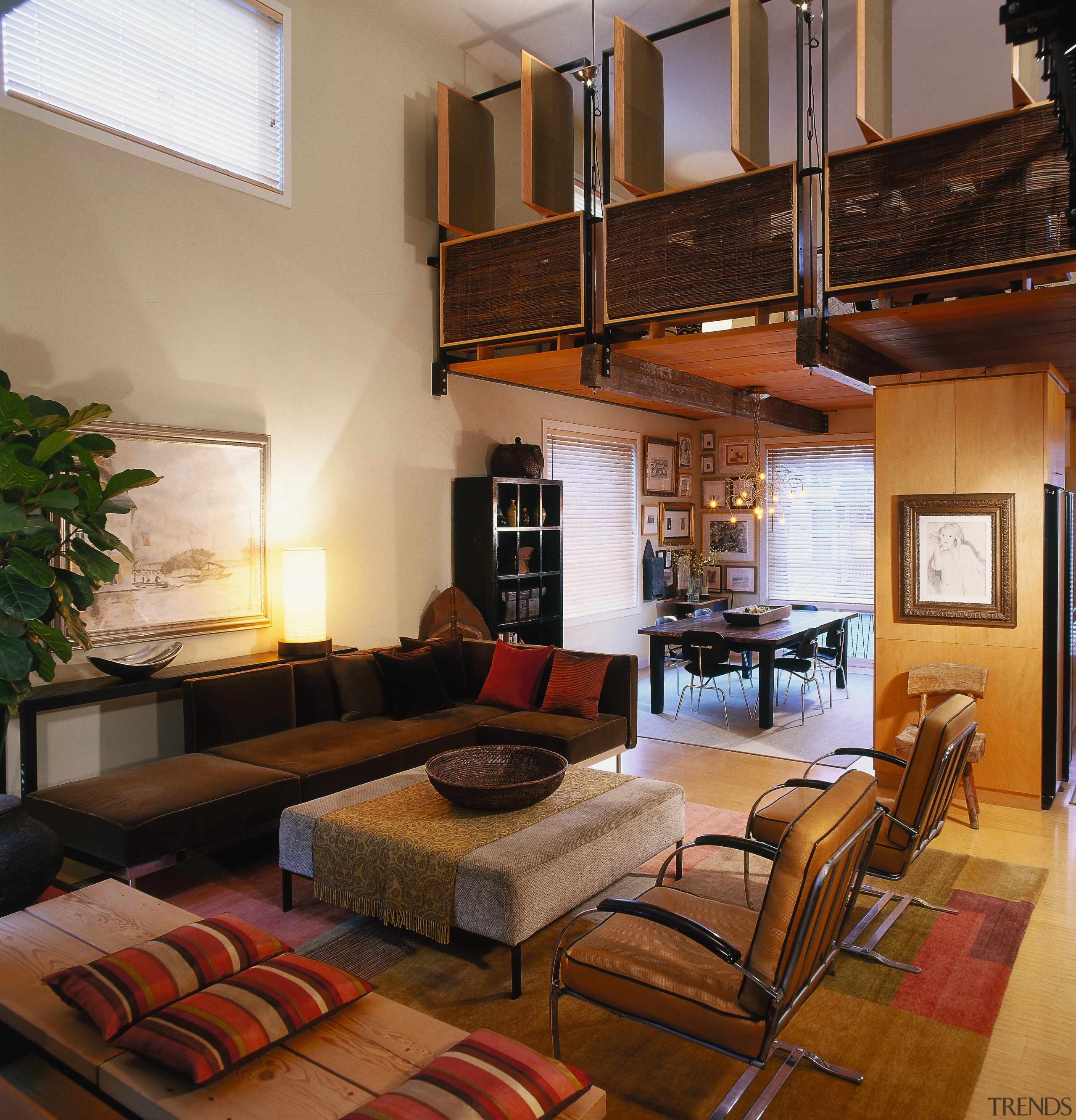 View of the living area, wooden flooring, large ceiling, interior design, living room, loft, real estate, room, brown