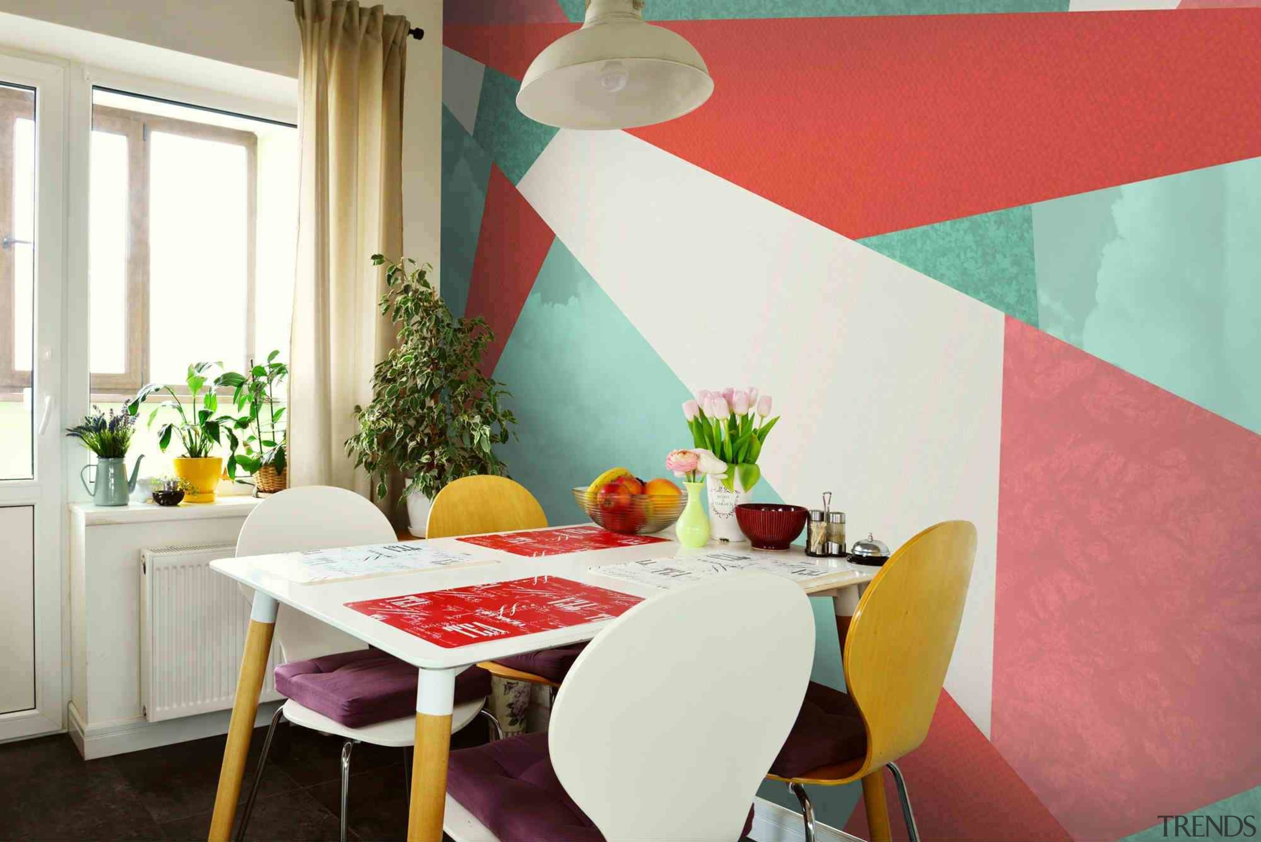 Geometric wallpaper - Geometric wallpaper - chair | chair, dining room, furniture, home, house, interior design, real estate, room, table, wall, window, red