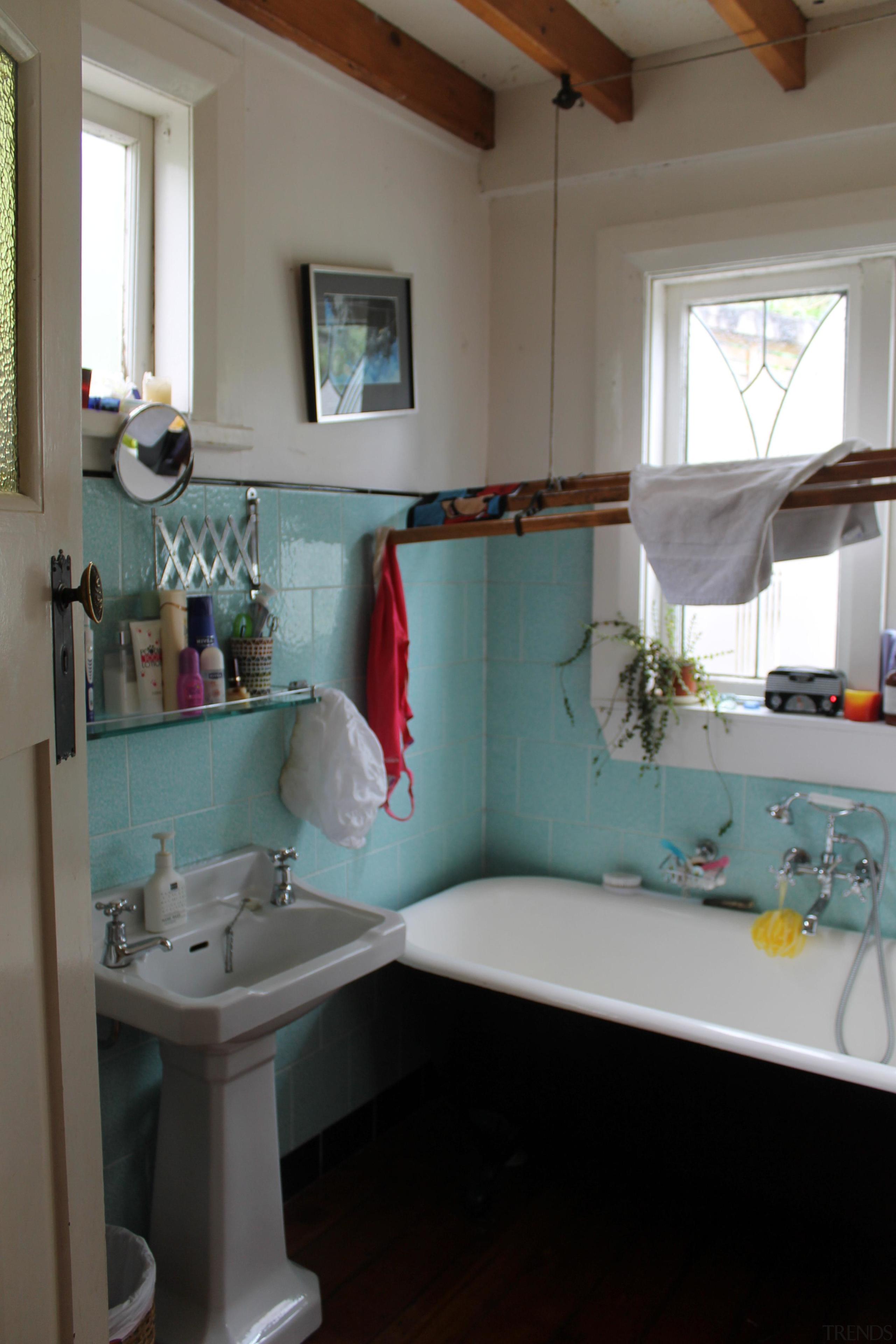 The original main bathroom - Existing main bathroom bathroom, countertop, floor, furniture, home, house, interior design, plumbing fixture, room, sink, table, window, gray