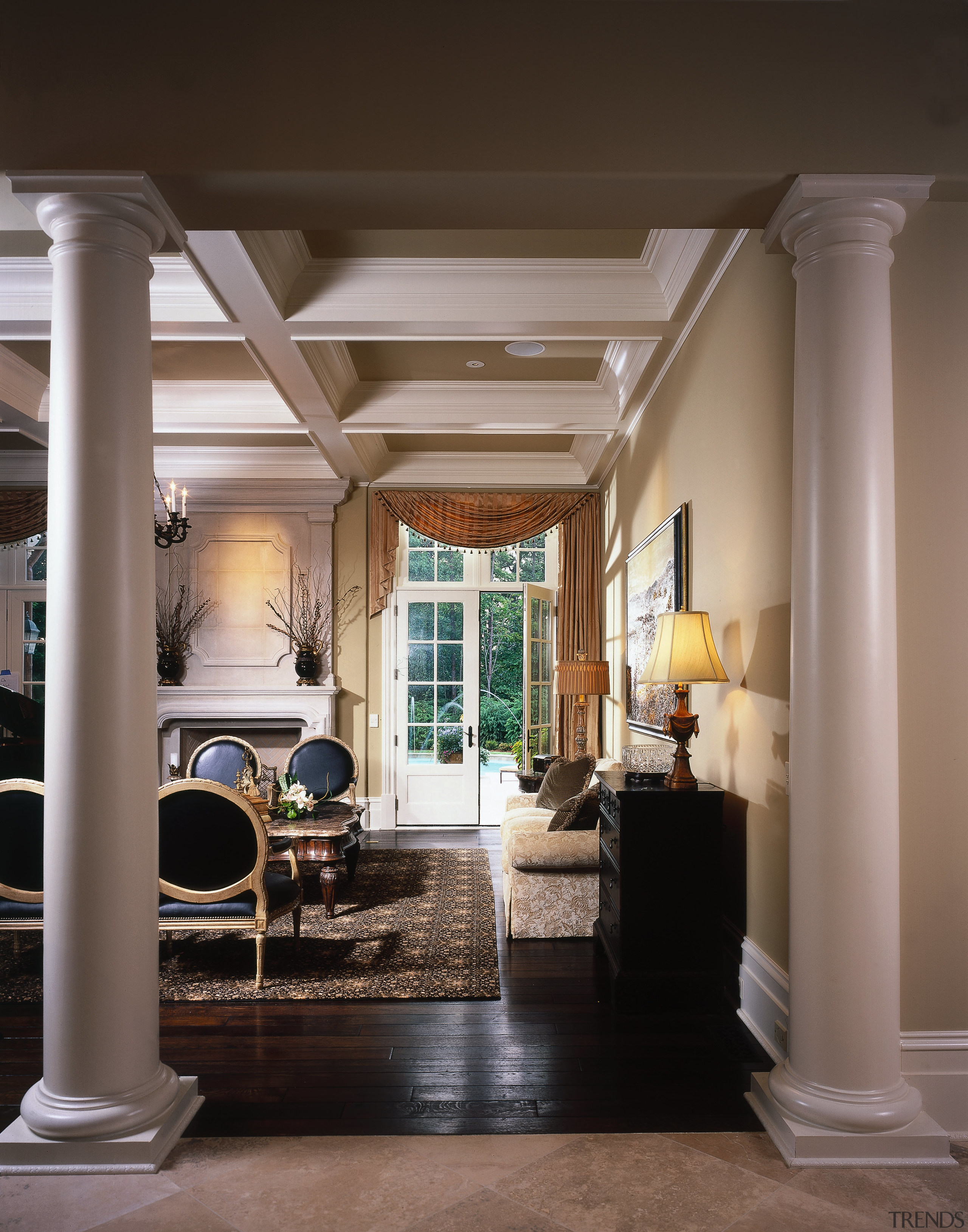 View of the living area - View of ceiling, column, floor, flooring, furniture, hardwood, home, interior design, living room, lobby, room, structure, black, gray, brown