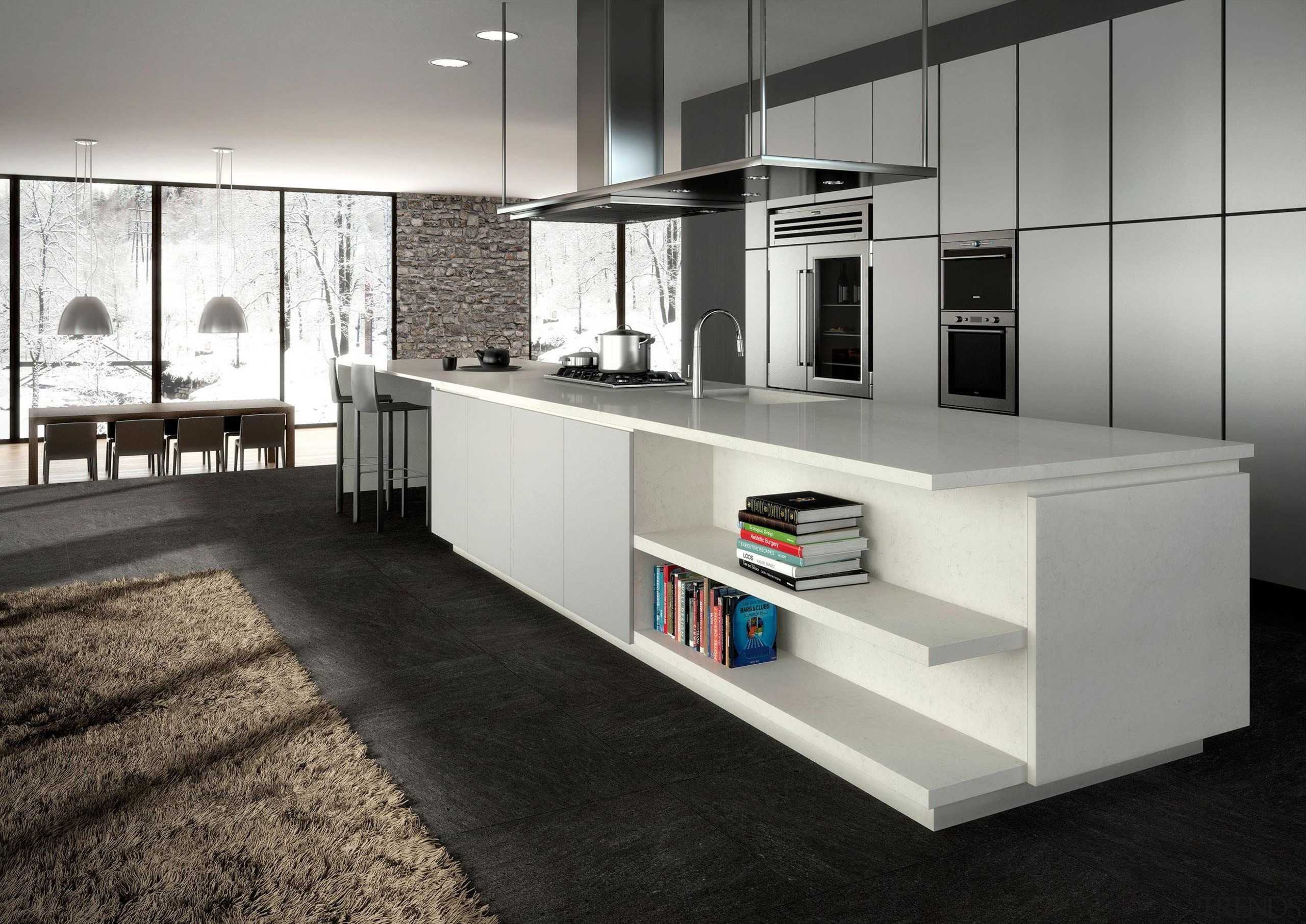 An eloquent opaque light grey with soft charcoal countertop, floor, furniture, interior design, kitchen, product design, gray, black, white