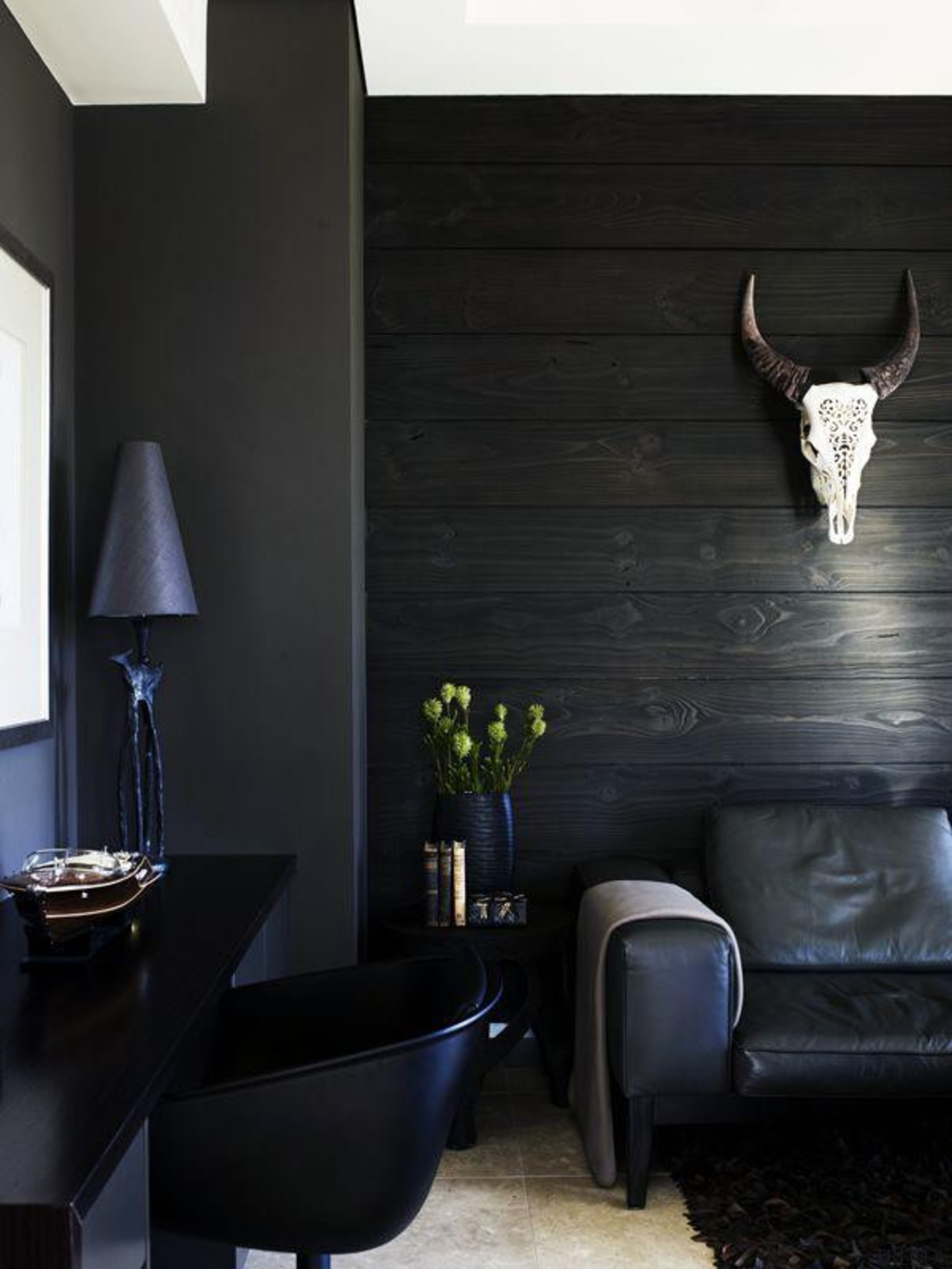 dane van bree + john pegrum / apartment, architecture, floor, furniture, home, house, interior design, light fixture, lighting, living room, room, table, wall, black