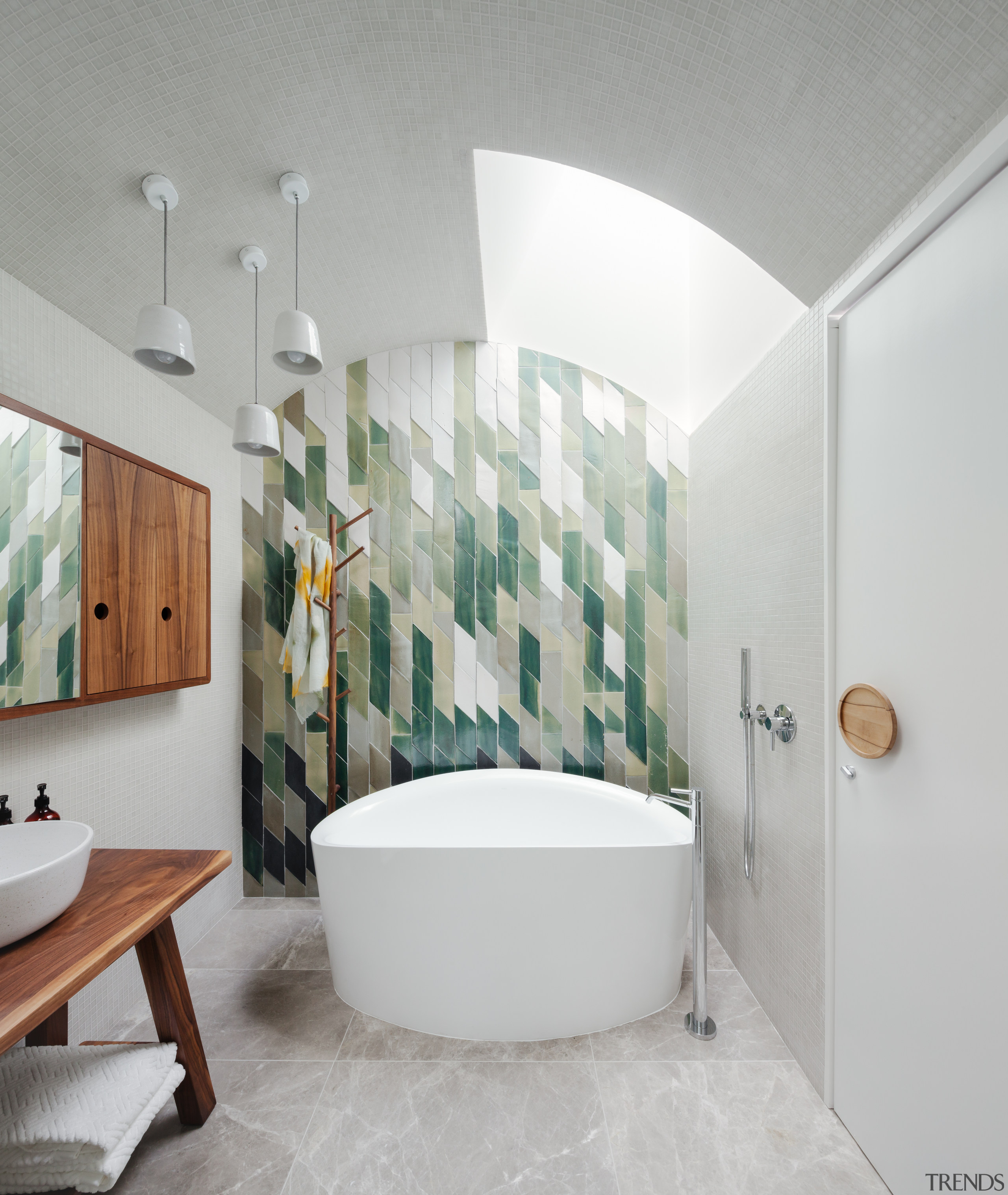 Day Bukh Architects – Highly Commended – TIDA architecture, bathroom, ceiling, floor, interior design, plumbing fixture, room, tap, tile, wall, gray