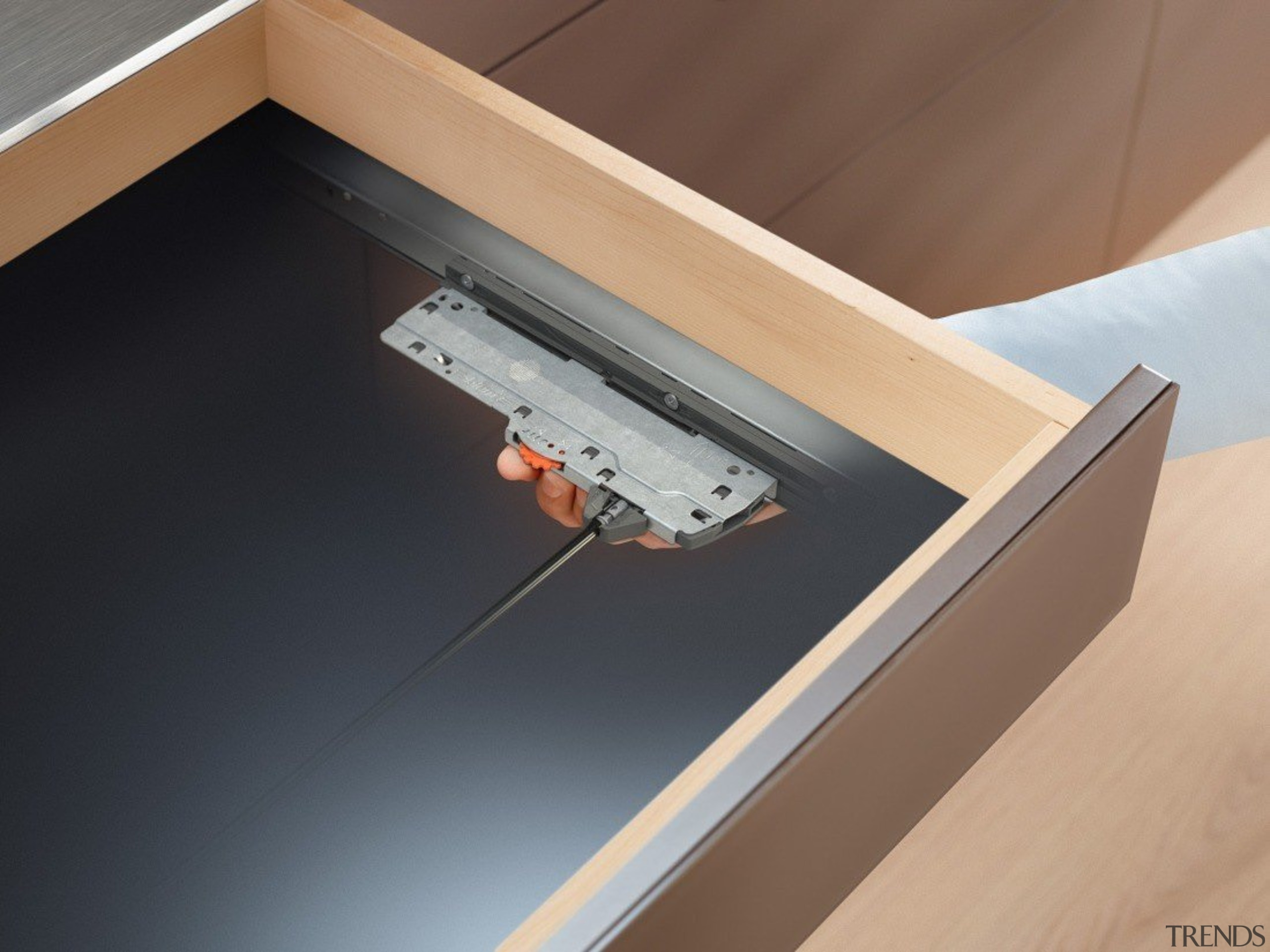 TIP-ON BLUMOTION for MOVENTO combines the advantages of angle, floor, furniture, table, wood, black