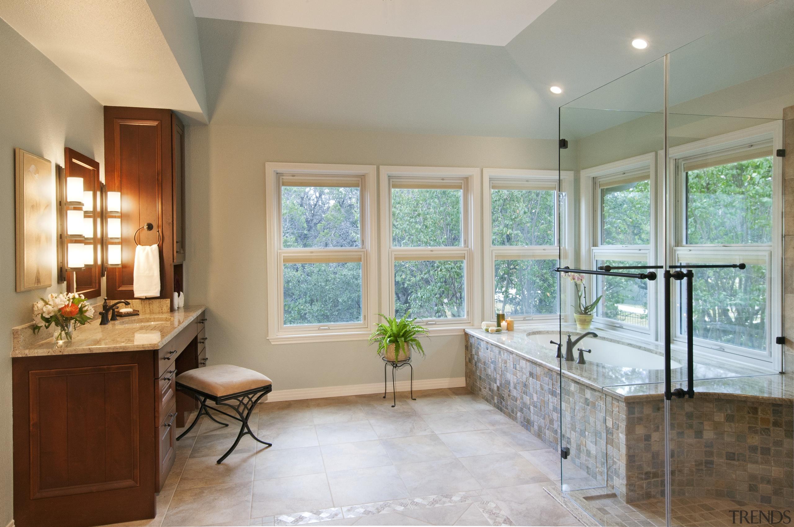 Large corner windows bring in plenty of natural bathroom, ceiling, estate, floor, home, interior design, real estate, room, wall, window, gray