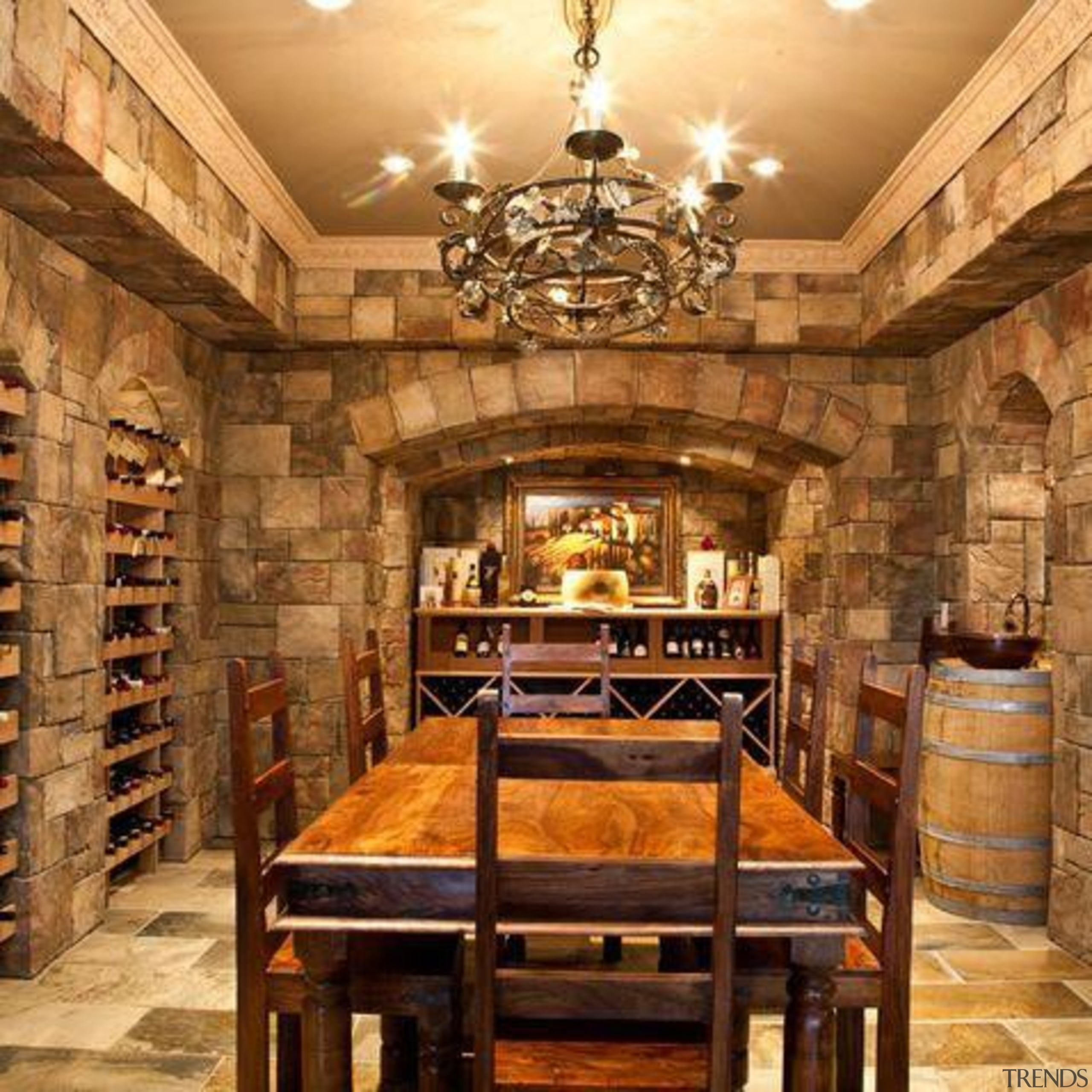 Modern Wine Cellar Ideas - Modern Wine Cellar ceiling, interior design, lobby, wine cellar, brown, orange