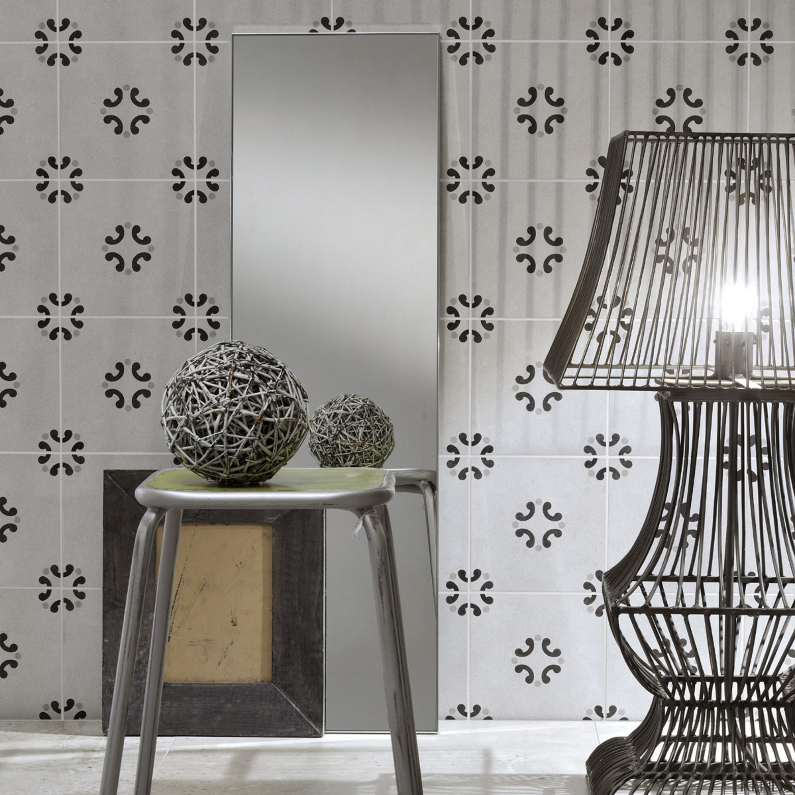 Each tile is identical and collectively combine to black and white, chair, curtain, interior design, lamp, lighting accessory, monochrome, monochrome photography, table, wall, wallpaper, gray