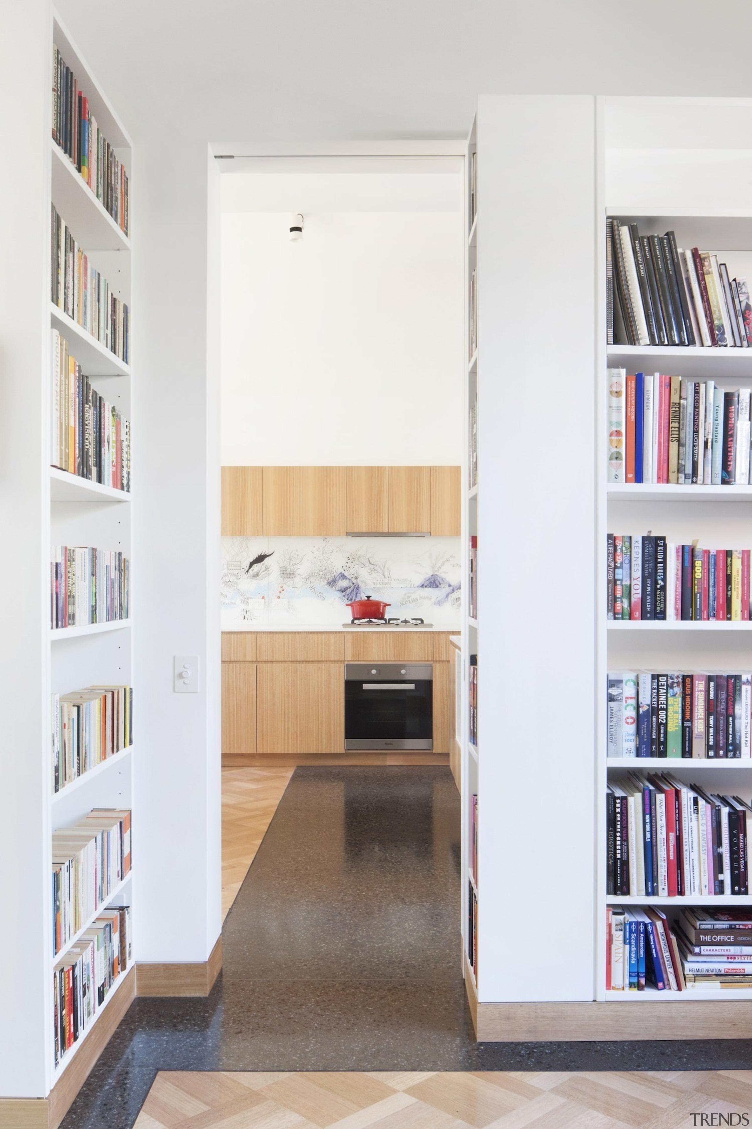 Architect: Steffen Welsch ArchitectsPhotography by Shannon McGrath bookcase, furniture, interior design, library, shelf, shelving, white