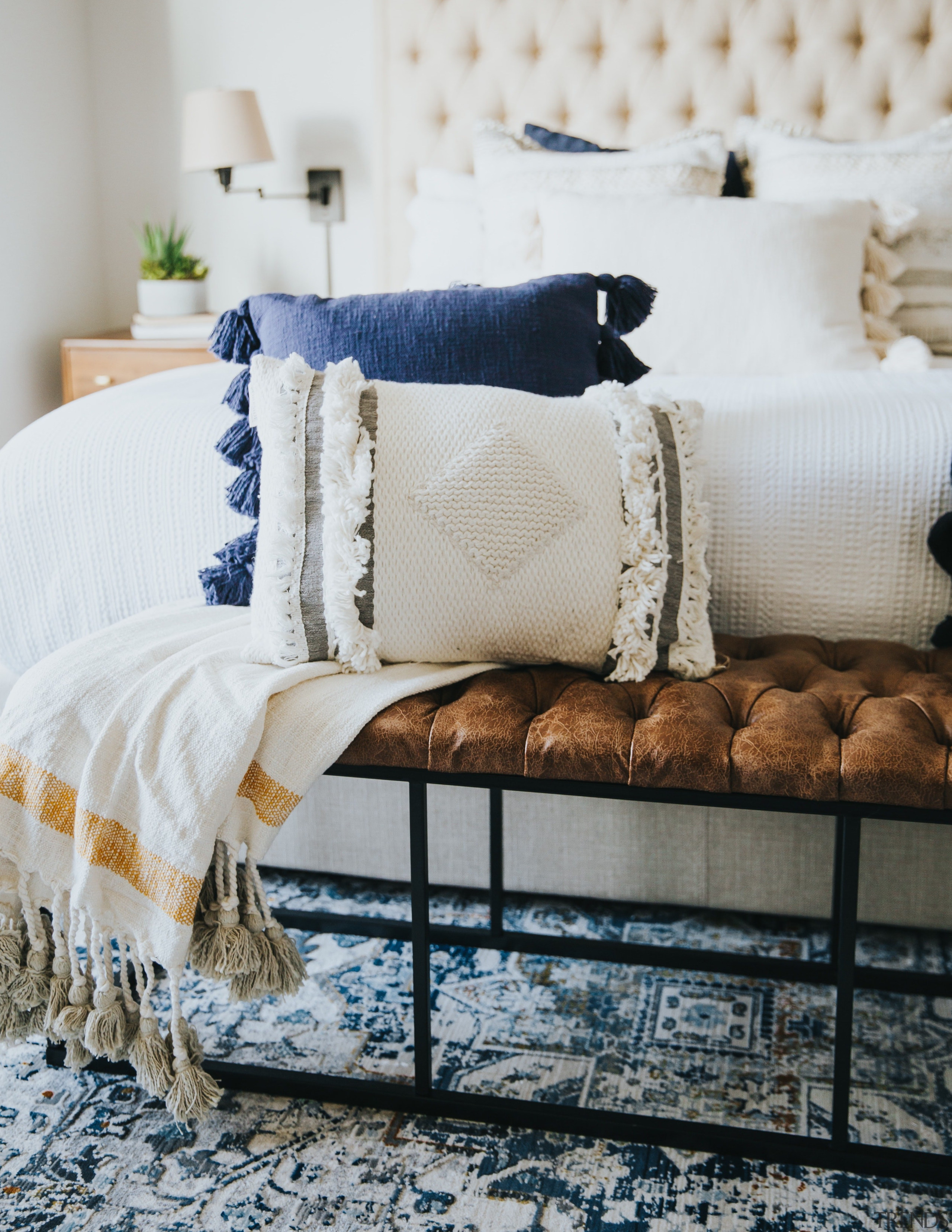 Pillows and throw in bedroom -