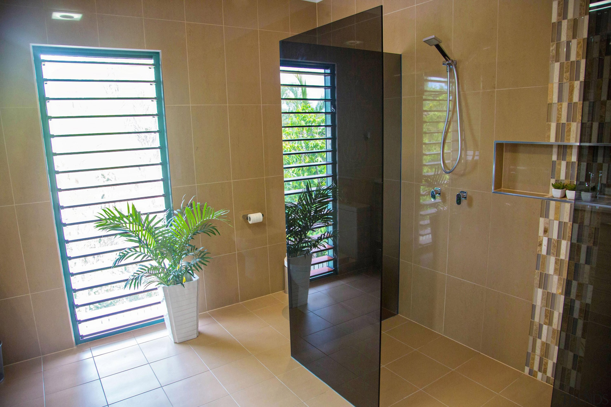 Winner Bathroom of the Year 2013 North Queensland bathroom, daylighting, door, estate, floor, flooring, home, interior design, property, real estate, room, tile, window, brown
