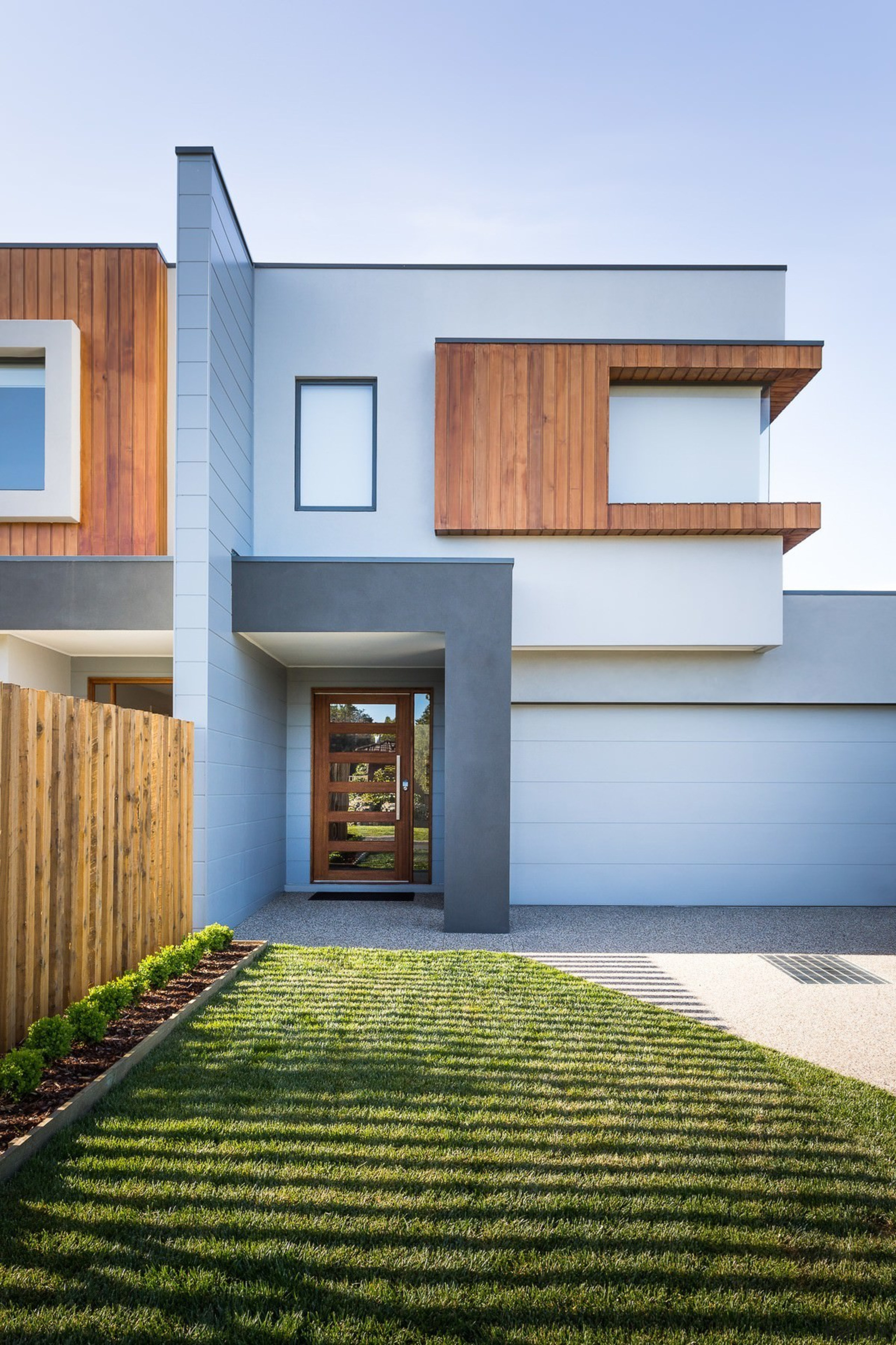 This studio is adept at crafting dual occupancy architecture, building, elevation, estate, facade, home, house, property, real estate, residential area, window, teal