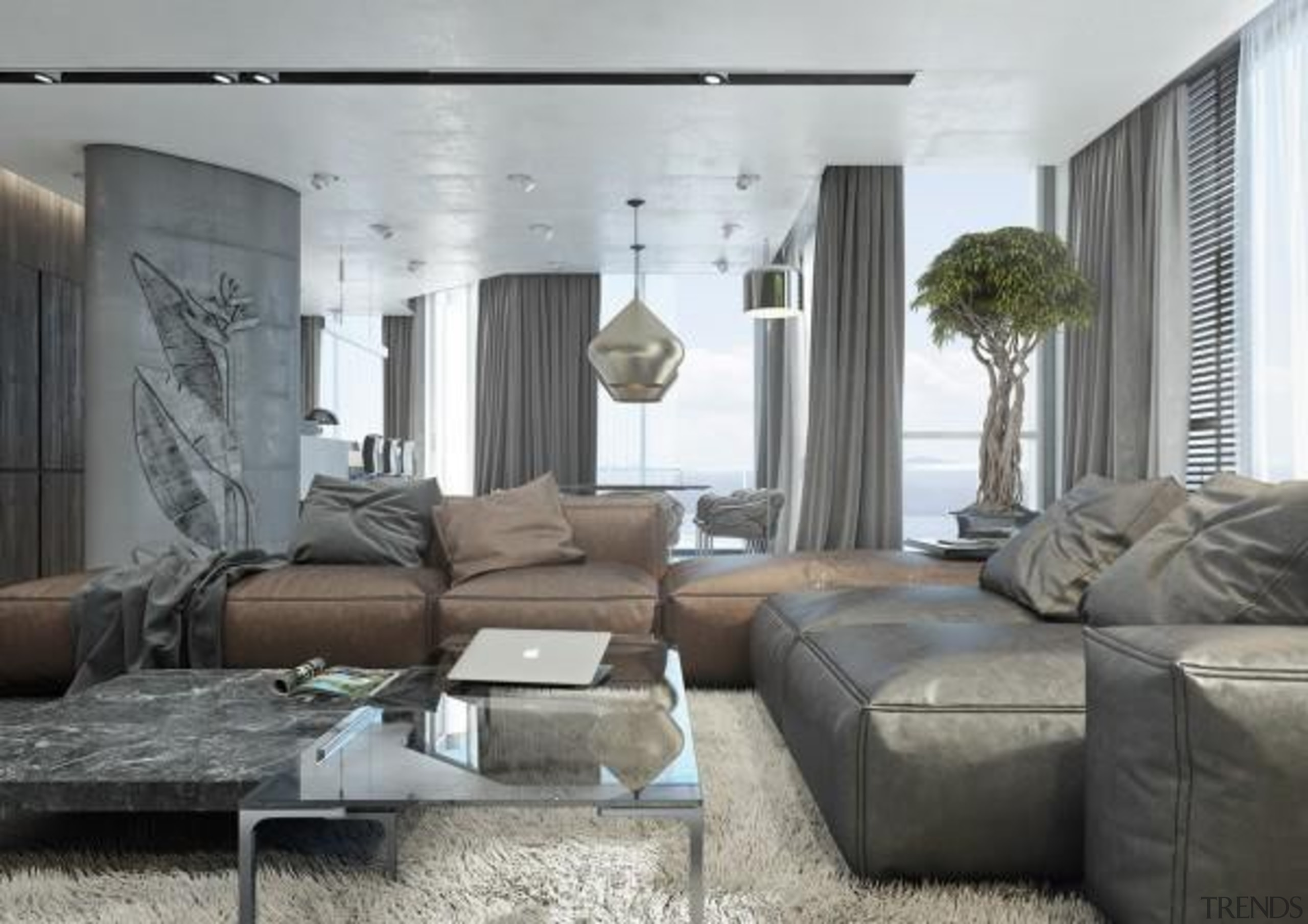 dark colored furnishings - Masculine Apartments - ceiling ceiling, couch, furniture, home, interior design, living room, property, wall, window treatment, gray, white