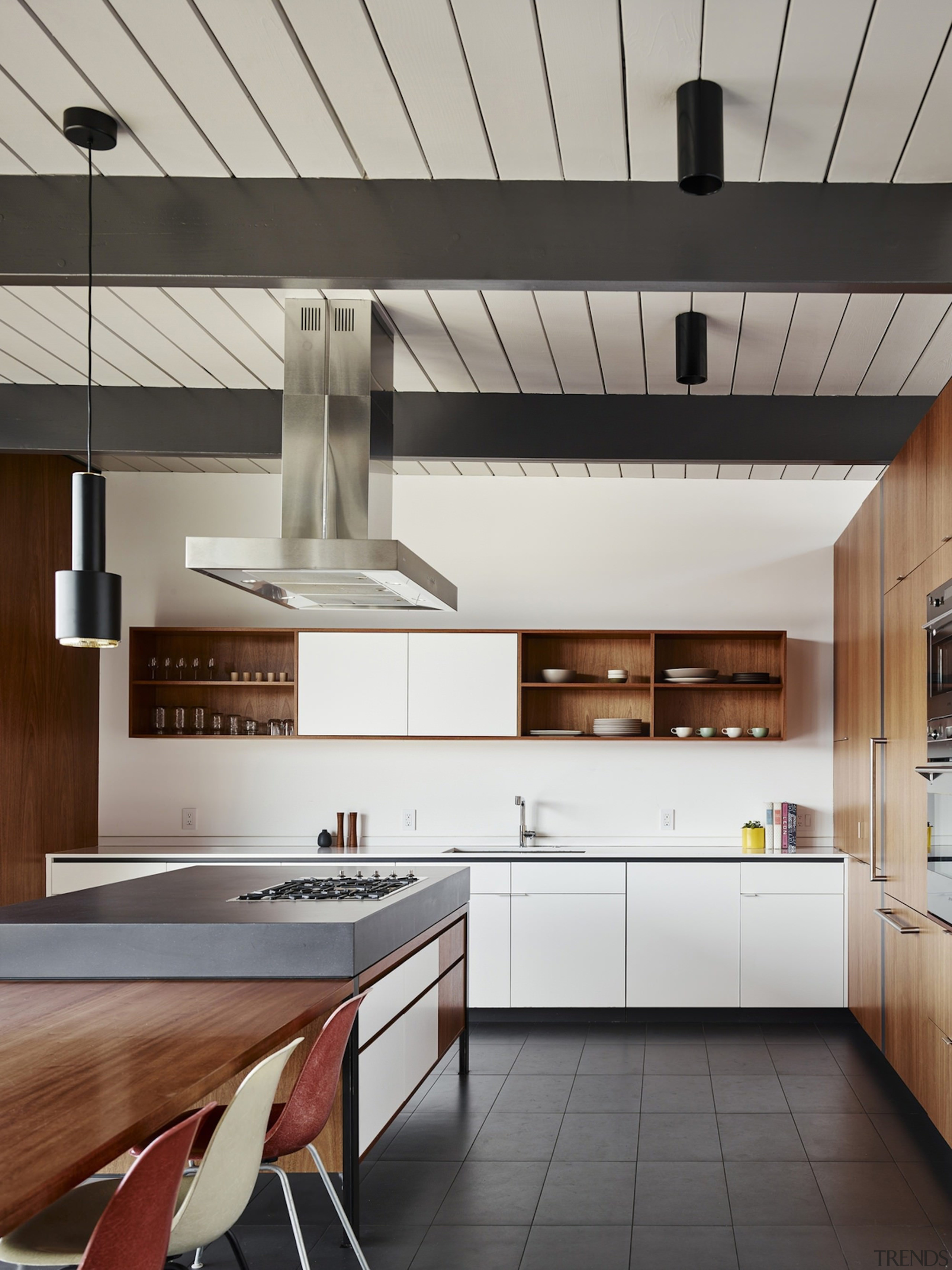 A number of materials help create a unique cabinetry, ceiling, countertop, cuisine classique, interior design, kitchen, product design, gray