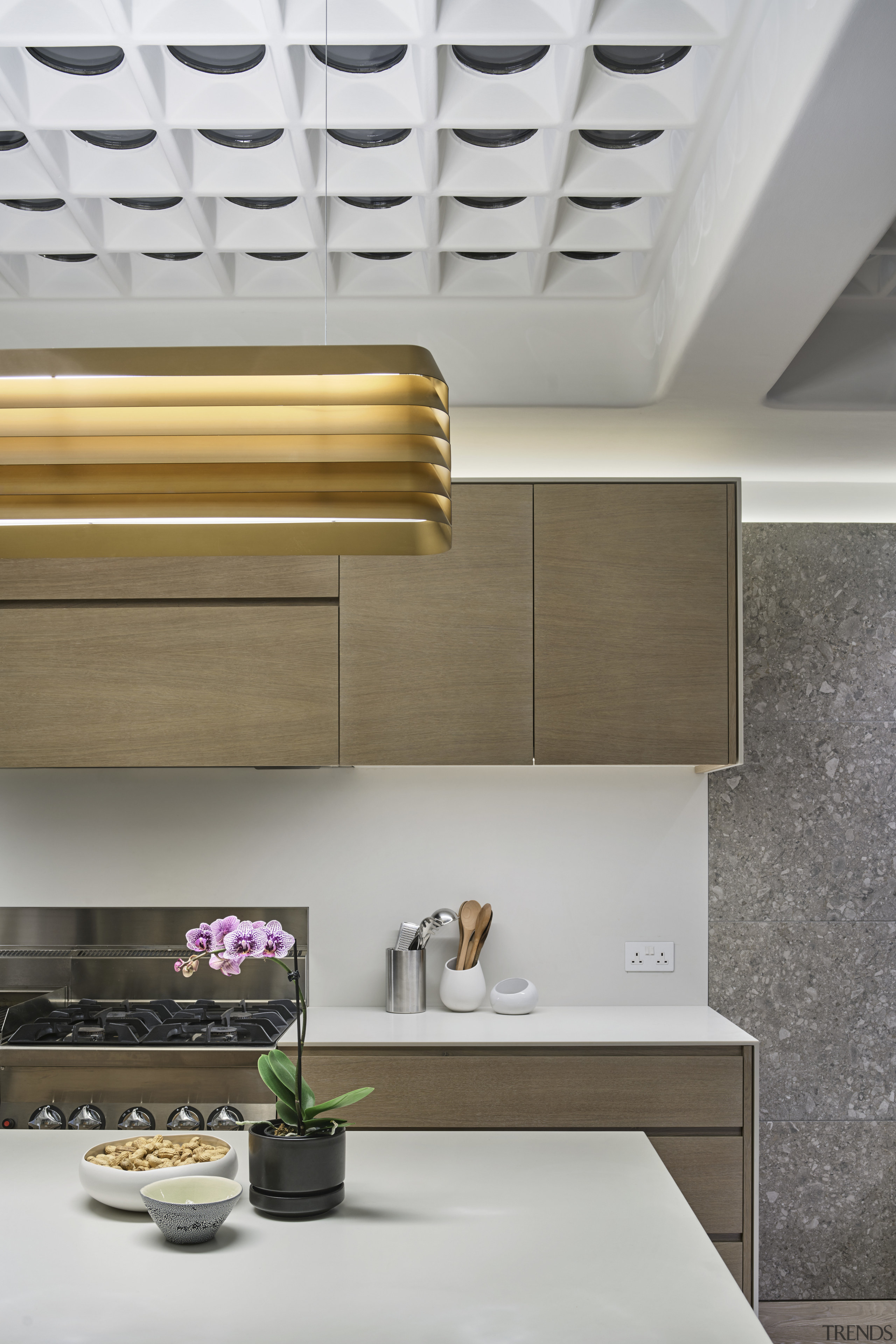 On this project by Andy Martin Architecture, an ceiling, countertop, interior design, kitchen, product design, wall, gray