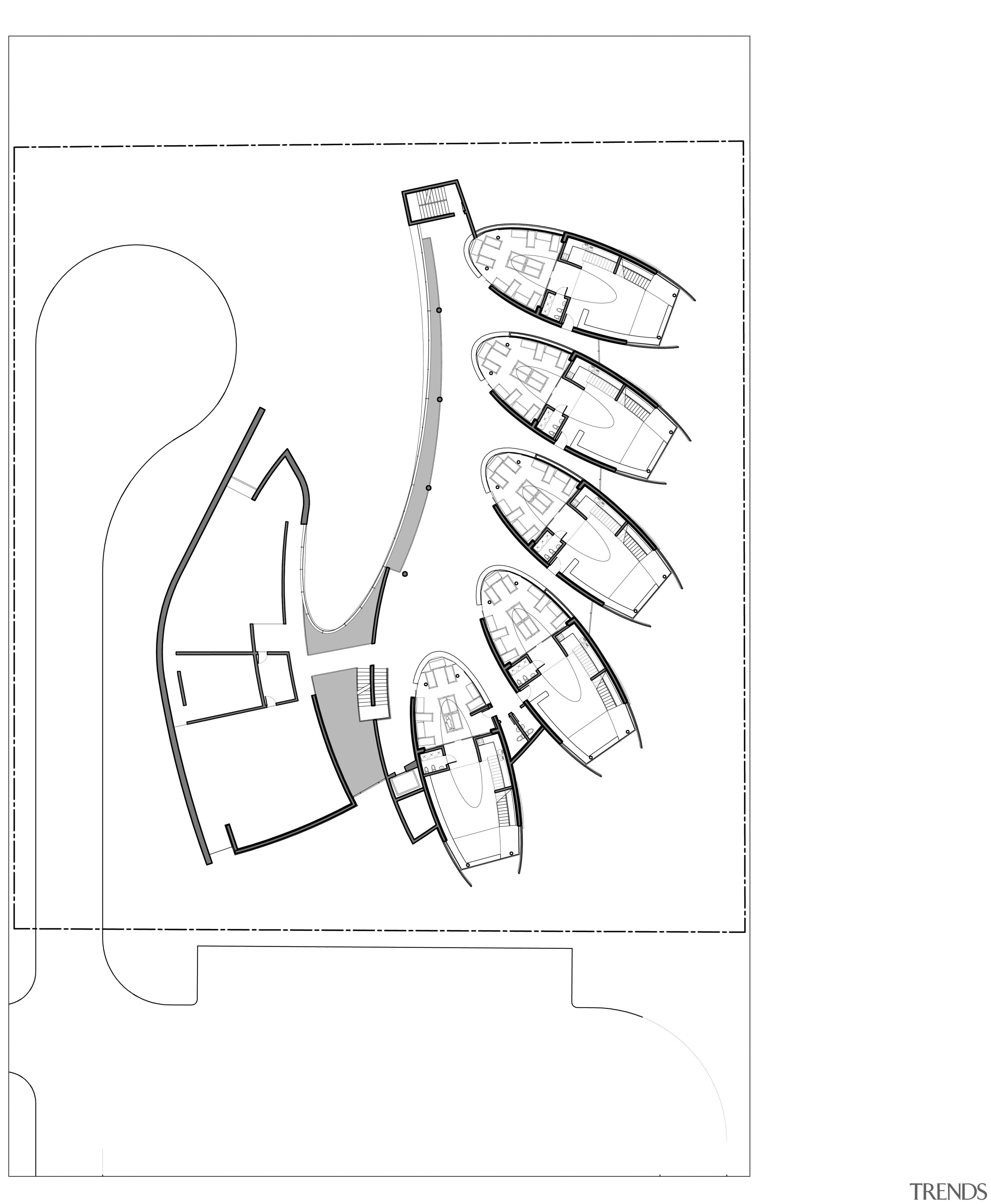 Floorplan of Dalian Preschool, with curvilinear forms and angle, area, artwork, black and white, cartoon, design, diagram, drawing, finger, font, footwear, hand, joint, line, line art, monochrome, paper, pattern, product, product design, shoe, sketch, text, white, white