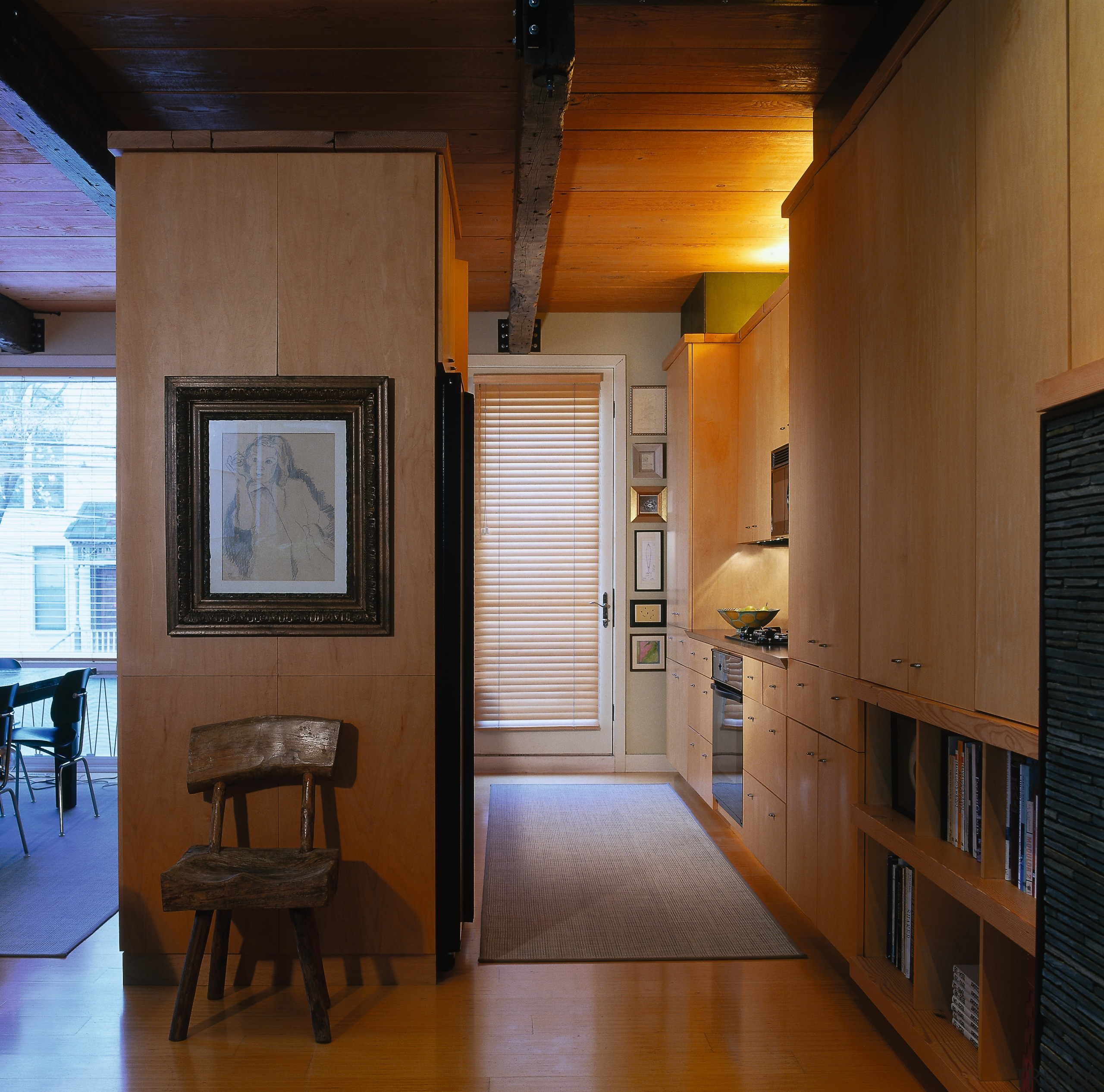 View of the kitcehn hallway, wooden flooring, rug, architecture, ceiling, home, house, interior design, loft, room, window, wood, brown, black