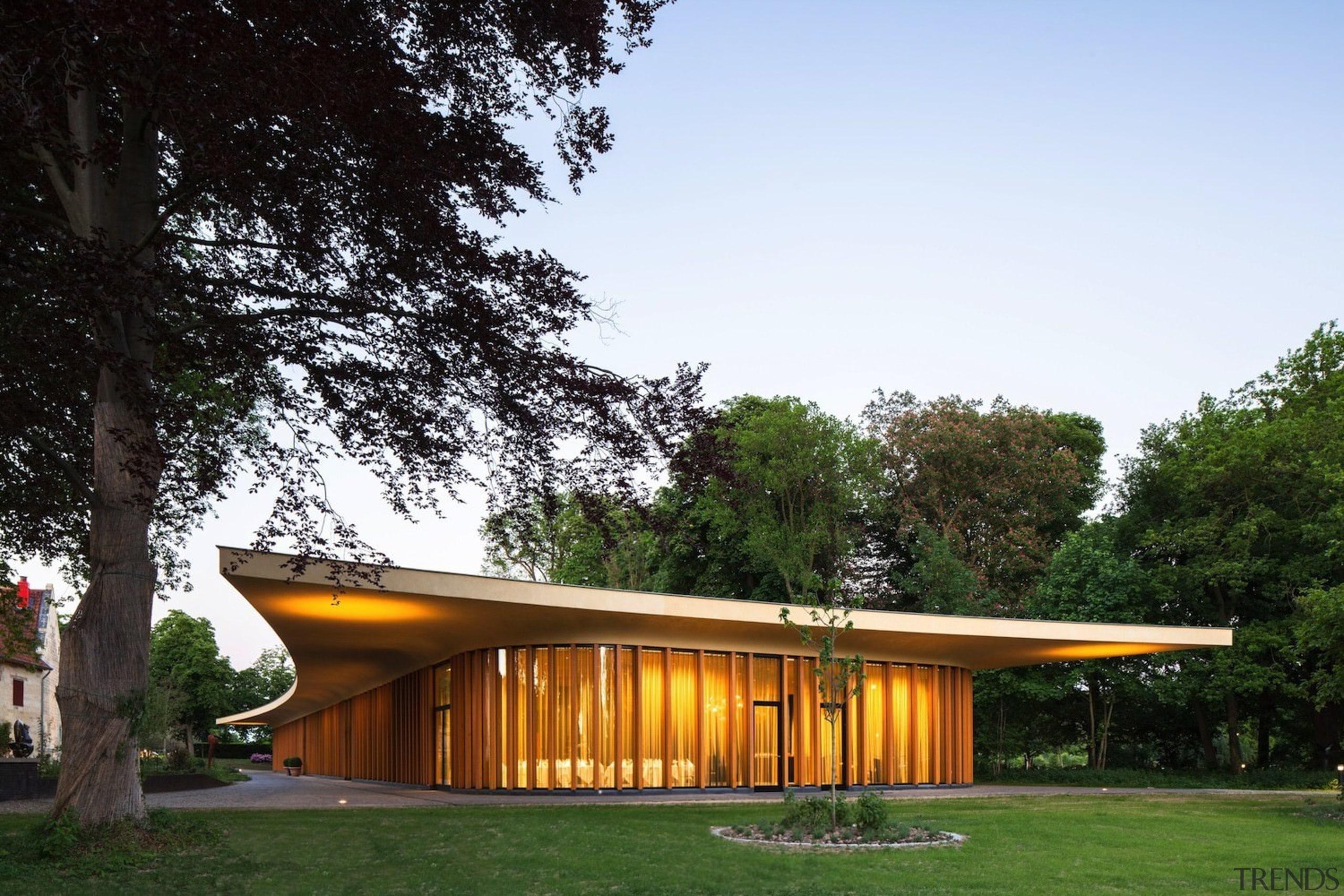 Architect: Meccanoo architecture, cottage, facade, home, house, pavilion, real estate, roof, sky, white