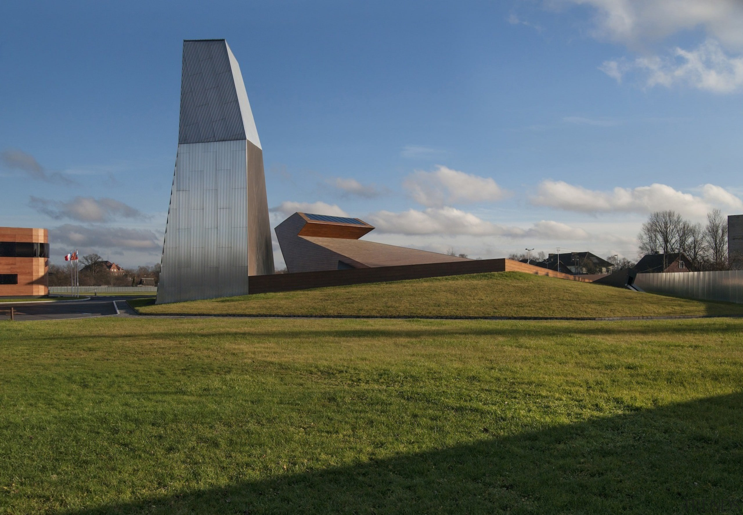 New brandy warehouse by TOTEMENT/PAPER - New brandy architecture, cloud, farm, field, grass, house, plant, rural area, sky, brown