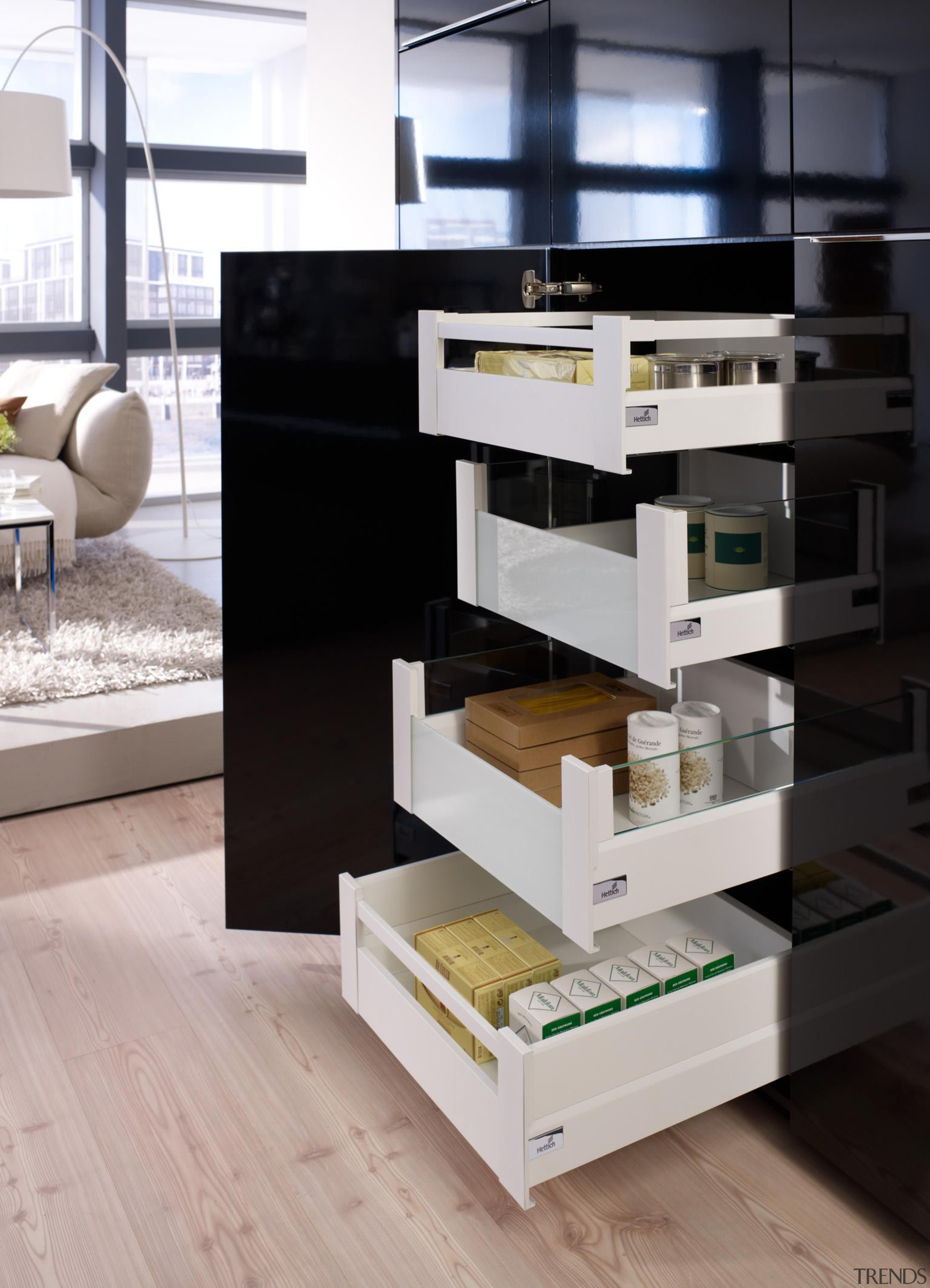 ArciTech's timeless, sleek design fits harmoniously into any chest of drawers, drawer, floor, furniture, product design, shelf, shelving, table, gray, black