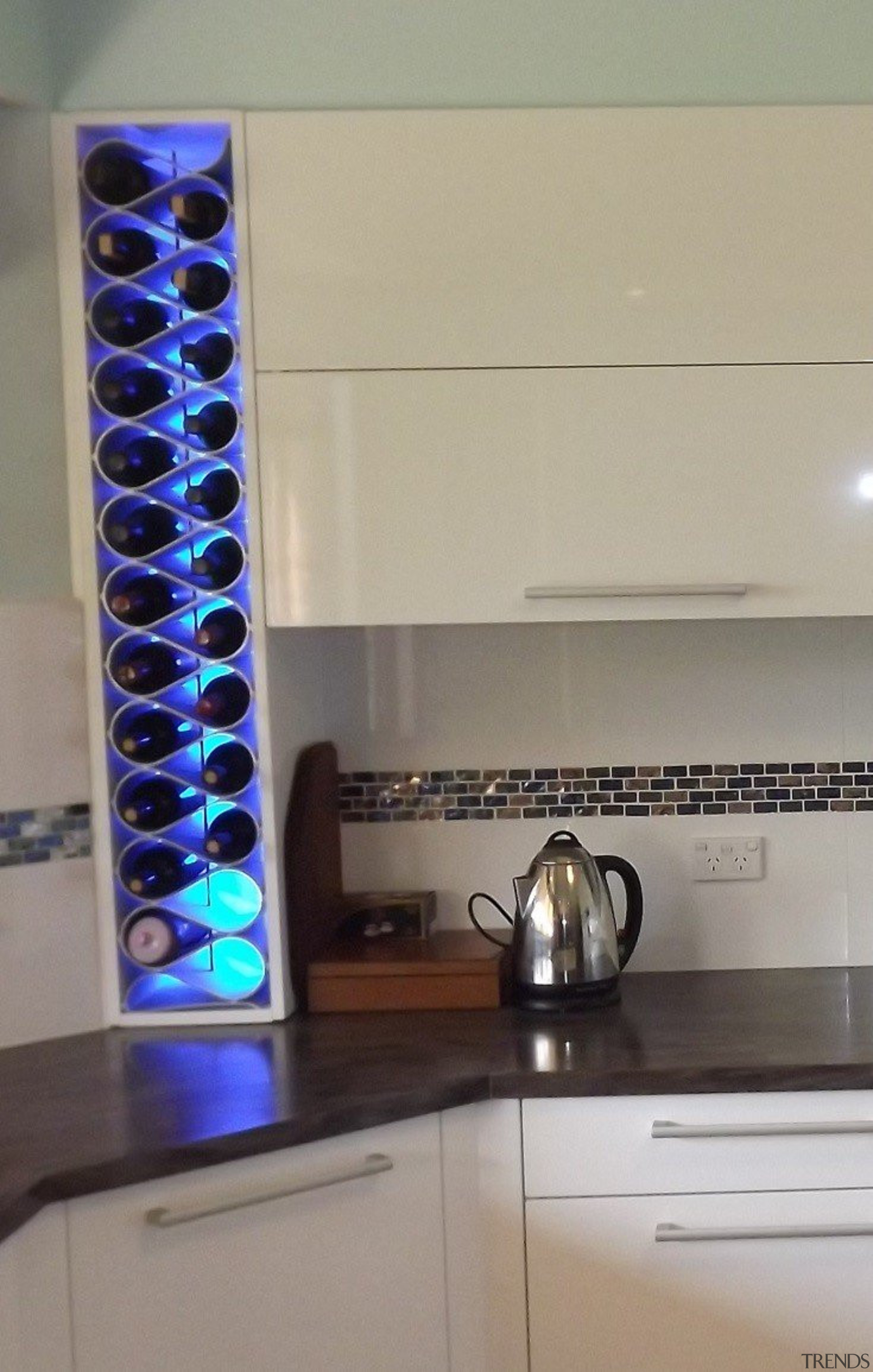 Install your Echelon modular wine storage forward from countertop, glass, interior design, gray