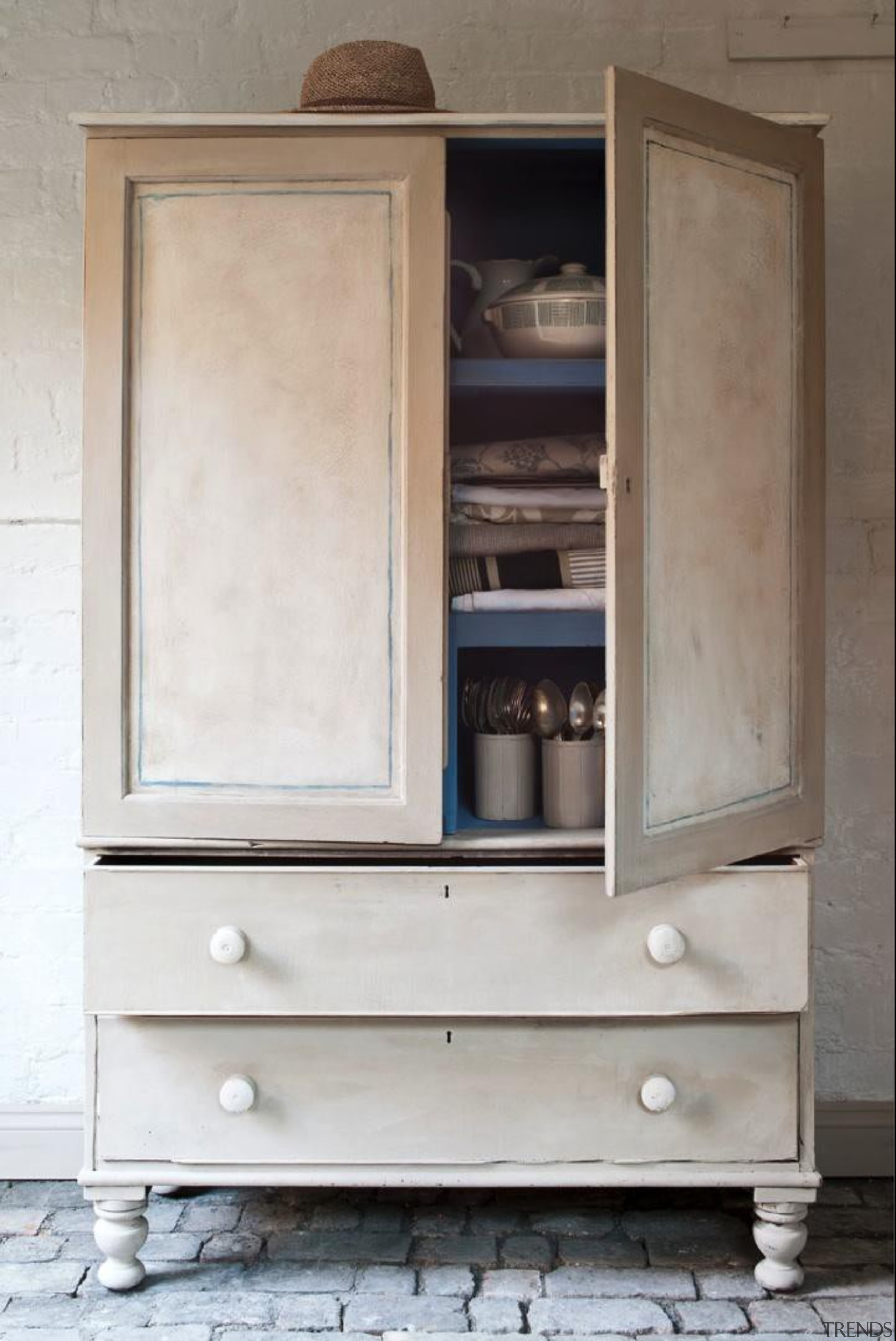 Known to many as the 'Queen of Paint', chest of drawers, cupboard, furniture, gray