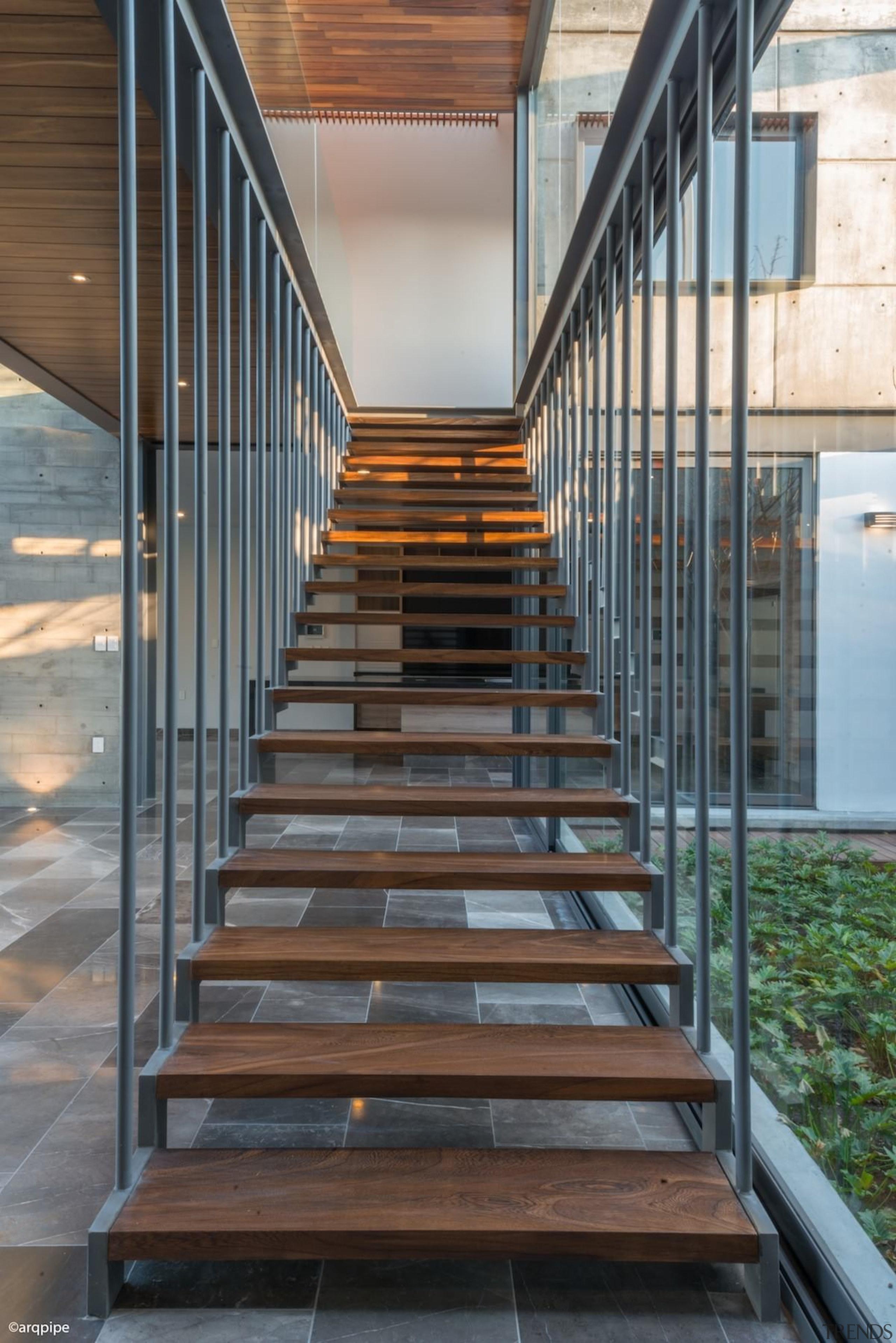 Colima home/Di Frenna Arquitectos - Colima home/Di Frenna architecture, daylighting, handrail, stairs, gray, black