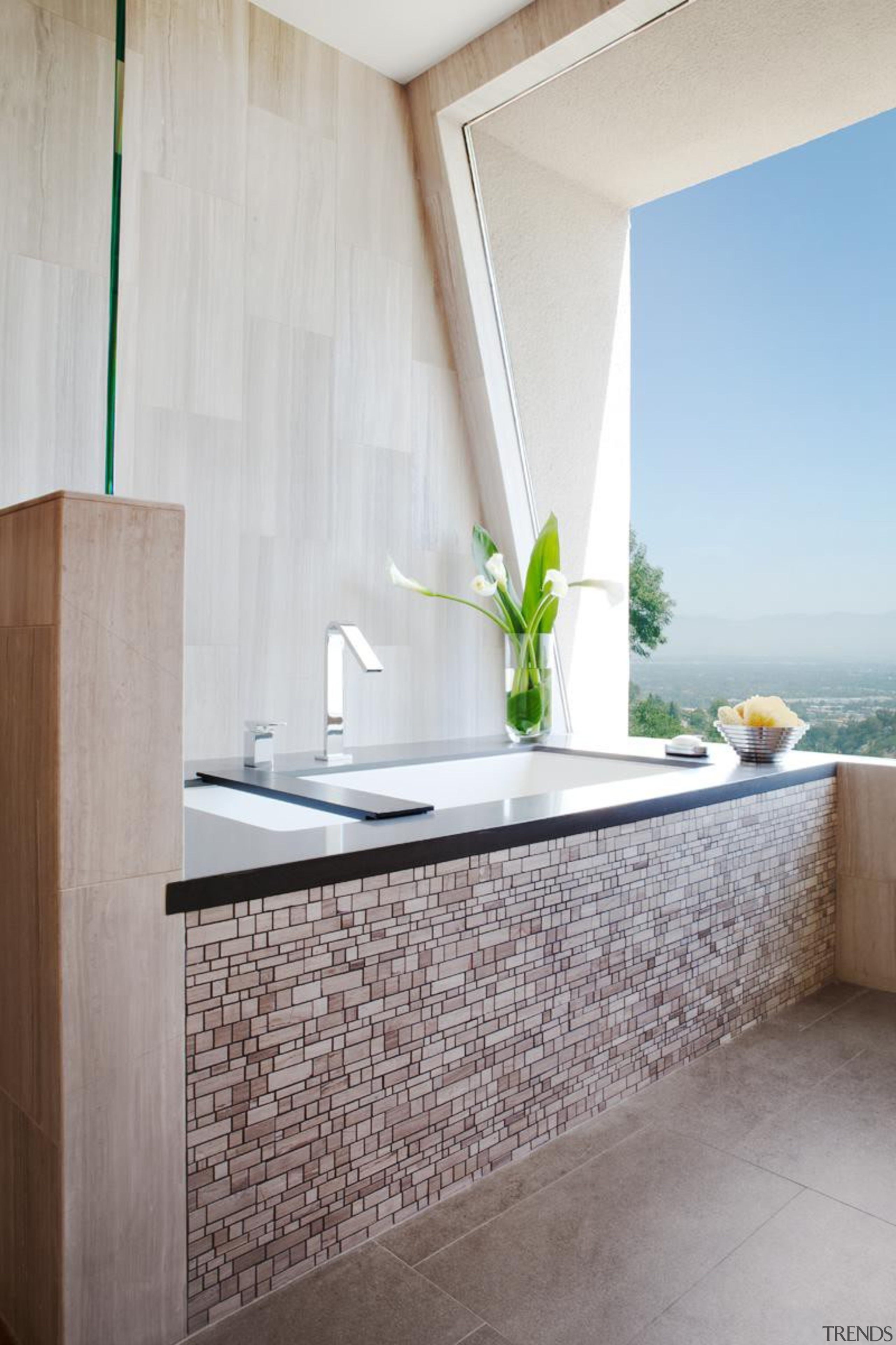 This tub overlooks the entire valley. Great views architecture, bathroom, floor, home, interior design, room, sink, tap, tile, wall, gray, white